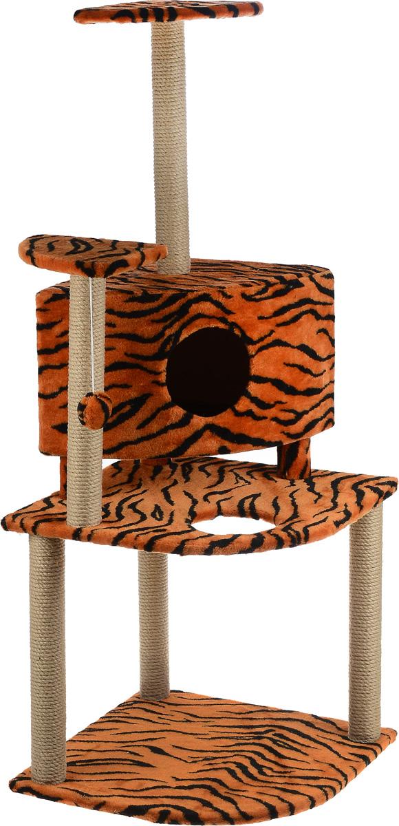 Игровой комплекс для кошек Меридиан, с домиком и когтеточкой, цвет: оранжевый, черный, бежевый, 55 х 55 х 140 смД441 ТИгровой комплекс для кошек Меридиан выполнен из высококачественного ДВП и ДСП и обтянут искусственным мехом. Изделие предназначено для кошек. Комплекс имеет 3 яруса. Ваш домашний питомец будет с удовольствием точить когти о специальные столбики, изготовленные из джута. А отдохнуть он сможет либо на полках, либо в домике. На одной из полок расположена игрушка, которая еще сильнее привлечет внимание питомца.Общий размер: 55 х 53 х 150 см.Размер домика: 42 х 42 х 31 см.Размер полок: 26 х 26 см.Размер нижнего яруса: 55 х 53 см.
