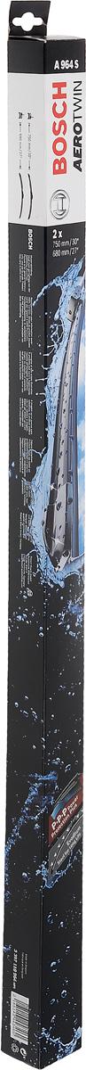 Комплект щеток стеклоочистителя Bosch Aerotwin A964S, 750 мм/680 мм, бескаркасные, 2 шт3397118964Комплект щеток стеклоочистителя Bosch Aerotwin A964S предназначен для Renault Espace 4 02-. Бескаркасные стеклоочистители с оригинальным креплением. Даже на высоких скоростях можно положиться на Aerotwin: их аэродинамическая конструкция гарантирует лучший обзор - даже в самых притязательных погодных условиях. Простейшая замена стеклоочистителей, благодаря предварительно установленному, характерному для автомобиля оригинальному адаптеру.Стеклоочистители обеспечивают высочайшее качество очистки. Прекрасный результат очистки в любой точке стекла, благодаря высокотехнологичной пружинной направляющей и аэродинамически оптимизированному профилю. Минимальные шумы ветра, благодаря меньшей площади воздействия встречного воздуха. Улучшенная пригодность к работе в зимних условиях, потому что лед не примерзает к щетке. Стеклоочистители имеют усовершенствованную конструкцию: встроенный аэродинамический спойлер; более продолжительный срок службы; равномерный износ за счет равномерной силы прижима; бесшумная очистка; особенно устойчивы против насекомых и различных загрязнений. Длина щеток: 75 см, 68 см.