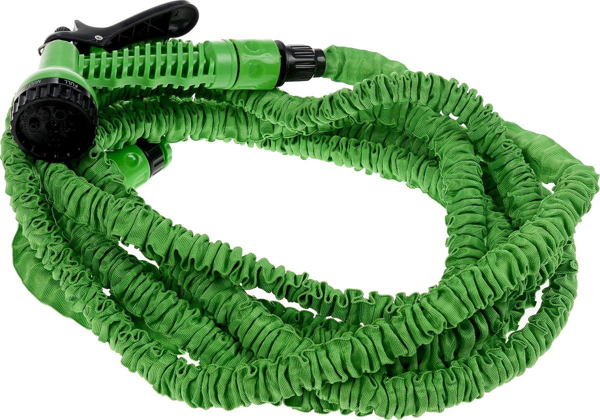 Шланг поливочный Magic Hose, 15 м. 6150561505_зеленыйПоливочный шланг Magic Hose - это прекрасный шланг, удлиняющийсяв 3 раза. Подключите шланг к крану и можете приступать к использованию.Очень легкий вес, что делает шланг еще более удобным в эксплуатации. Внутришланг выполнен из латекса, снаружи - текстиль. Шланг подходит как для поливарассады, цветов, газонов, так и для мытья машины.Особенности: - удобный и легкий, - растягивается в длину при поступлении воды, - автоматически возвращается в исходный размер, - подключается к стандартным кранам, - не перекручивается, не заламывается, не путается, - гибкий, - удобная сборка, - удлиняется в 3 раза.Для более удобного полива в комплекте имеется специальная насадка-распылитель.