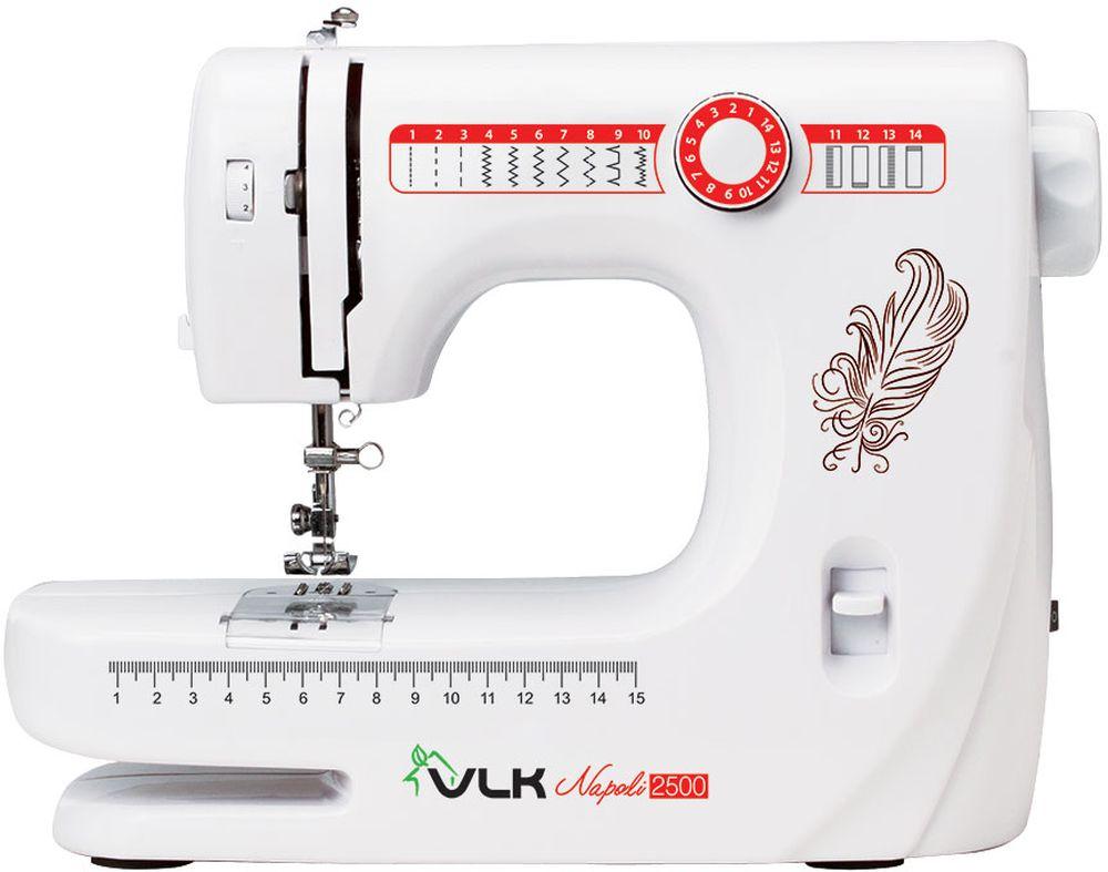 VLK Napoli 2500, White швейная машинаVLK Napoli 2500Швейная машина VLK Napoli 2500 относится к электромеханическому типу с вертикальным челноком. Вы можете работать с тканями любой толщины и различных видов. Одним из важных достоинств модели является наличие 14 программ шитья, которые помогут справиться с рукоделием даже неопытному человеку.Машинка в полуавтоматическом режиме сделает петли на одежде, способна шить двойной иглой или в нескольких направлениях, что значительно расширяет ее возможности. Встроенная подсветка позволит работать с прибором даже в темное время суток. В комплекте вы получите распарыватель, шпульки, различные виды лапок, а также инструмент для заправки нити и держатель для катушки с нитками.Автоматическая намотка нити Обработка петель и пришивание пуговиц Регулируемое натяжение нити Нитеобрезатель