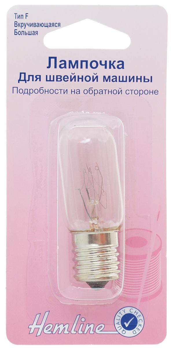 Лампочка для швейной машины Hemline, вкручивающаяся, длинная, 15W131.LВкручивающаяся лампочка 15W/240V Hemline подходит для ранних моделей швейных машин и для некоторых электрических приборов.Размер: 2,2 х 2,2 х 5,6 см.Тип: F.Перед тем, как вставить лампочку, необходимо сверить ее с размероморигинальной.