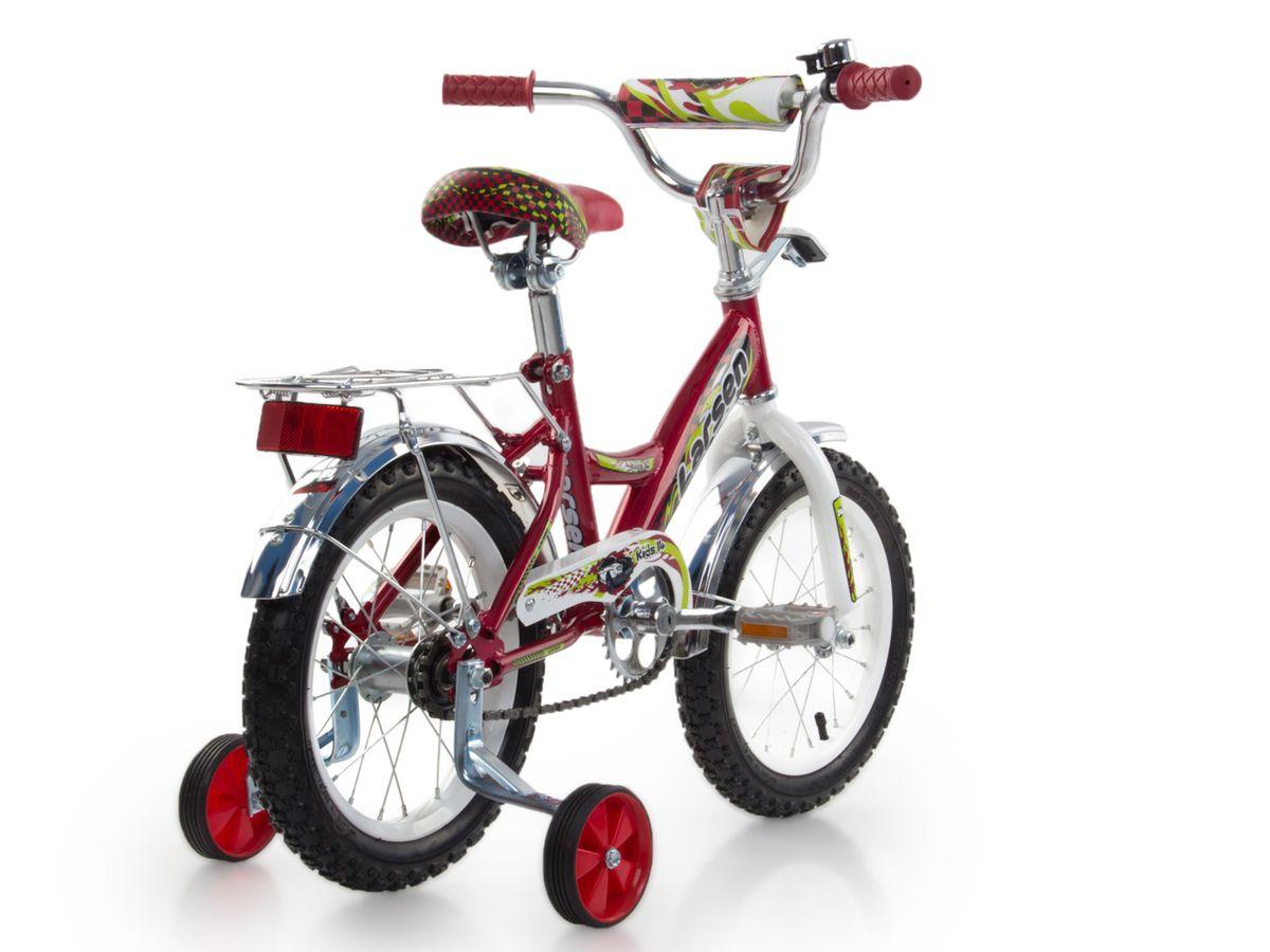 """Велосипед детский Larsen """"Kids 14"""" - велосипед для вашего ребенка. Он снабжен двумя дополнительными страховочными колесиками - для того, чтобы ваш малыш мог легко и безопасно научиться держать равновесие, а затем и самостоятельно кататься на двухколесном велосипеде. Когда ребенок будет уже уверенно держаться в седле, страховочные колесики можно снять, превратив велосипед в двухколесный.Велосипед создан с учетом максимальной безопасности для малышей. Форма стальной рамы позволяет без лишних усилий забираться и сходить с велосипеда. Цепь и вращающиеся шестеренки четырехколесного друга спрятаны в защитный короб, исключая попадание туда одежды и малейшую возможность случайно поцарапаться. Защитные крылья спасают от грязи и не дают ребенку испачкаться даже после дождя.Велосипед имеет всего одну скорость - это для того, чтобы малыши не разгонялись очень сильно и не считали потом синяки. Вовремя остановиться поможет удобный ножной тормоз. А если торможение получится неожиданно резкое, то для этого на руле предусмотрена специальная мягкая накладка, чтобы максимально смягчить возможное столкновение.Характеристики:Рама: сталь. Вилка: жесткая, сталь.Количество скоростей: 1. Размер колес: 14"""". Резина: 14х2.125; BMX PATTERN. Передний переключатель: нет. Задний переключатель: нет. Обода: стальные усиленные 14"""". Тормоза: втулочные, ножные тормоза. Дополнительное оборудование: гудок, отражатели, дополнительные колеса, крылья. Какой велосипед выбрать? Статья OZON Гид"""