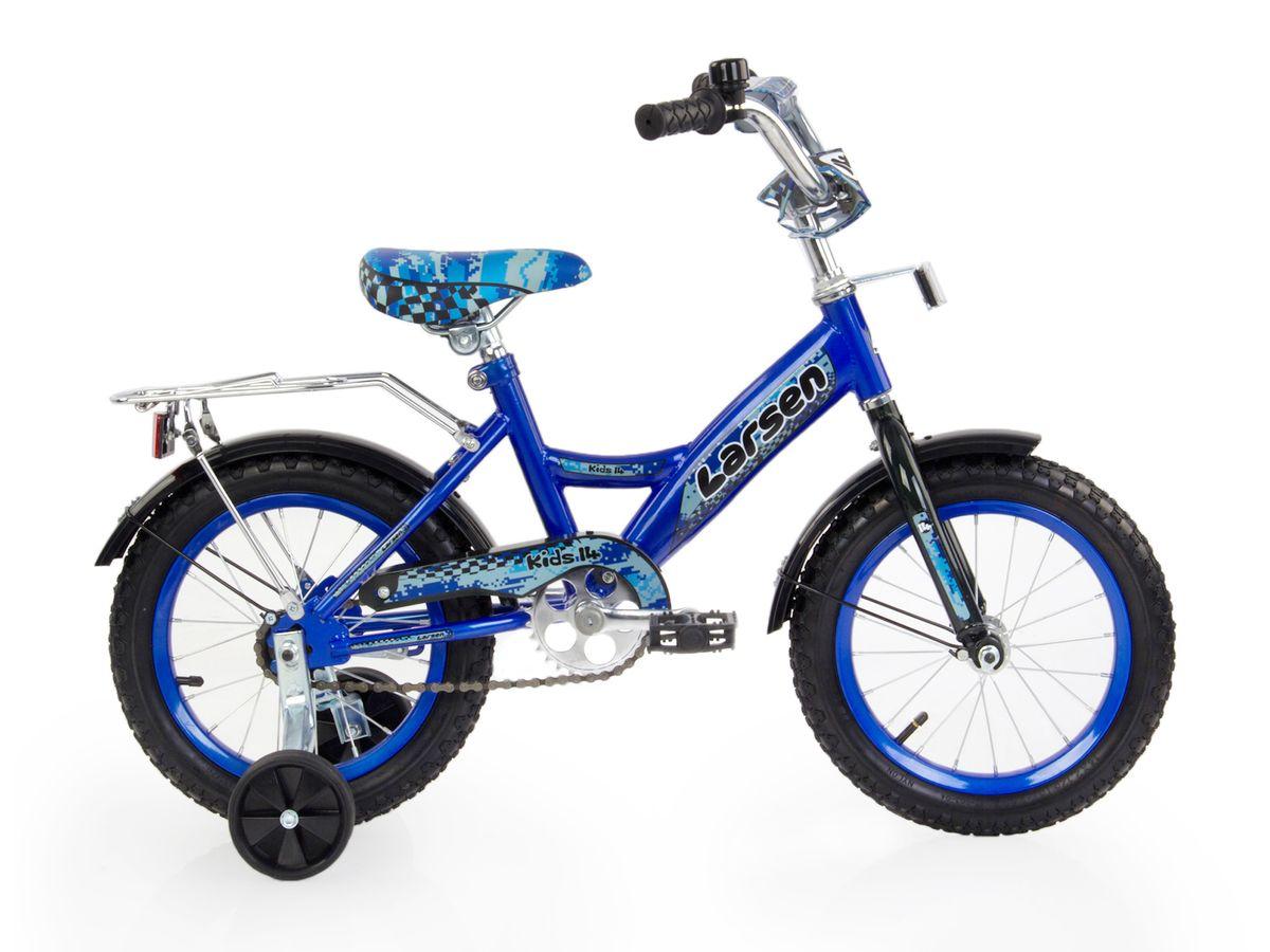 Велосипед детский Larsen Kids 14, цвет: синий336210Велосипед детский Larsen Kids 14 - велосипед для вашего ребенка. Он снабжен двумя дополнительными страховочными колесиками - для того, чтобы ваш малыш мог легко и безопасно научиться держать равновесие, а затем и самостоятельно кататься на двухколесном велосипеде. Когда ребенок будет уже уверенно держаться в седле, страховочные колесики можно снять, превратив велосипед в двухколесный.Велосипед создан с учетом максимальной безопасности для малышей. Форма стальной рамы позволяет без лишних усилий забираться и сходить с велосипеда. Цепь и вращающиеся шестеренки четырехколесного друга спрятаны в защитный короб, исключая попадание туда одежды и малейшую возможность случайно поцарапаться. Защитные крылья спасают от грязи и не дают ребенку испачкаться даже после дождя.Велосипед имеет всего одну скорость - это для того, чтобы малыши не разгонялись очень сильно и не считали потом синяки. Вовремя остановиться поможет удобный ножной тормоз. А если торможение получится неожиданно резкое, то для этого на руле предусмотрена специальная мягкая накладка, чтобы максимально смягчить возможное столкновение.Характеристики:Рама: сталь. Вилка: жесткая, сталь.Количество скоростей: 1. Размер колес: 14. Резина: 14х2.125; BMX PATTERN. Передний переключатель: нет. Задний переключатель: нет. Обода: стальные усиленные 14. Тормоза: втулочные, ножные тормоза. Дополнительное оборудование: гудок, отражатели, дополнительные колеса, крылья.