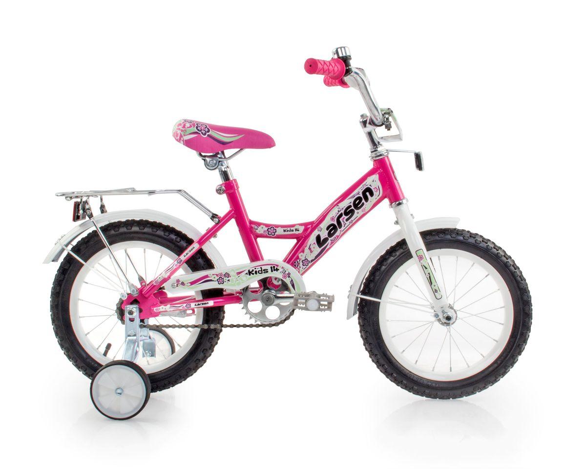 Велосипед детский Larsen Kids 14, цвет: розовый336211Велосипед детский Larsen Kids 14 - велосипед для вашего ребенка. Он снабжен двумя дополнительными страховочными колесиками - для того, чтобы ваш малыш мог легко и безопасно научиться держать равновесие, а затем и самостоятельно кататься на двухколесном велосипеде. Когда ребенок будет уже уверенно держаться в седле, страховочные колесики можно снять, превратив велосипед в двухколесный.Велосипед создан с учетом максимальной безопасности для малышей. Форма стальной рамы позволяет без лишних усилий забираться и сходить с велосипеда. Цепь и вращающиеся шестеренки четырехколесного друга спрятаны в защитный короб, исключая попадание туда одежды и малейшую возможность случайно поцарапаться. Защитные крылья спасают от грязи и не дают ребенку испачкаться даже после дождя.Велосипед имеет всего одну скорость - это для того, чтобы малыши не разгонялись очень сильно и не считали потом синяки. Вовремя остановиться поможет удобный ножной тормоз. А если торможение получится неожиданно резкое, то для этого на руле предусмотрена специальная мягкая накладка, чтобы максимально смягчить возможное столкновение.Характеристики:Рама: сталь. Вилка: жесткая, сталь.Количество скоростей: 1. Размер колес: 14. Резина: 14х2.125; BMX PATTERN. Передний переключатель: нет. Задний переключатель: нет. Обода: стальные усиленные 14. Тормоза: втулочные, ножные тормоза. Дополнительное оборудование: гудок, отражатели, дополнительные колеса, крылья.