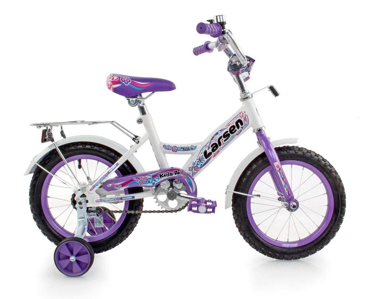 Велосипед детский Larsen Kids 14, цвет: белый, фиолетовый336212Велосипед детский Larsen Kids 14 - велосипед для вашего ребенка. Он снабжен двумя дополнительными страховочными колесиками - для того, чтобы ваш малыш мог легко и безопасно научиться держать равновесие, а затем и самостоятельно кататься на двухколесном велосипеде. Когда ребенок будет уже уверенно держаться в седле, страховочные колесики можно снять, превратив велосипед в двухколесный.Велосипед создан с учетом максимальной безопасности для малышей. Форма стальной рамы позволяет без лишних усилий забираться и сходить с велосипеда. Цепь и вращающиеся шестеренки четырехколесного друга спрятаны в защитный короб, исключая попадание туда одежды и малейшую возможность случайно поцарапаться. Защитные крылья спасают от грязи и не дают ребенку испачкаться даже после дождя.Велосипед имеет всего одну скорость - это для того, чтобы малыши не разгонялись очень сильно и не считали потом синяки. Вовремя остановиться поможет удобный ножной тормоз. А если торможение получится неожиданно резкое, то для этого на руле предусмотрена специальная мягкая накладка, чтобы максимально смягчить возможное столкновение.Характеристики:Рама: сталь. Вилка: жесткая, сталь.Количество скоростей: 1. Размер колес: 14. Резина: 14х2.125; BMX PATTERN. Передний переключатель: нет. Задний переключатель: нет. Обода: стальные усиленные 14. Тормоза: втулочные, ножные тормоза. Дополнительное оборудование: гудок, отражатели, дополнительные колеса, крылья.