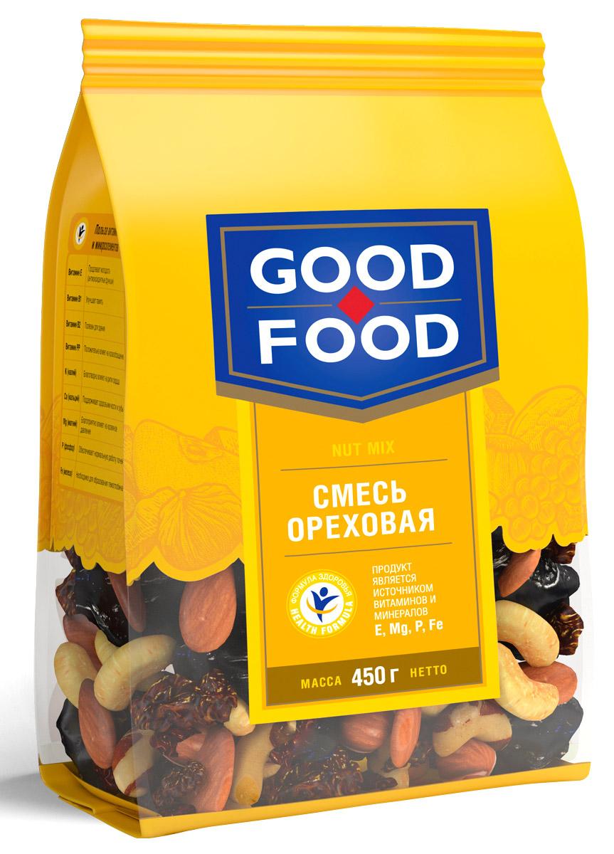 Good Foodсмесьореховая,450г4620000671817Смесь Ореховая - это вкусный и полезный снек. Смесь включает в себя бразильский орех, изюм golden и black jumbo, кешью, миндаль и фундук.Уважаемые клиенты! Обращаем ваше внимание, что полный перечень состава продукта представлен на дополнительном изображении.