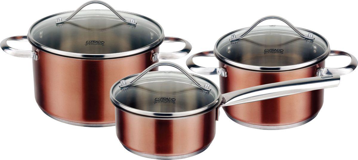 """Набор посуды для приготовления пищи Esprado """"Guarda"""" станет незаменимым помощником на кухне. В комплекте:Ковш с крышкой. Размер: 14 х 6,5 см. Объем: 1 л. Кастрюля с крышкой. Размер: 16 х 9,5 см. Объем: 1,8 л. Кастрюля с крышкой. Размер:  20 х 11 см. Объем: 3,6 л. Толщина стенок: 0,5 мм. Набор посуды изготовлен из высококачественной нержавеющей стали 18/10 Steelagen.Внутри матовая полировка с отметками литража  для точного соблюдения рецепта, снаружи цветное покрытие.  Цвет покрытия: шоколадный.  Try-ply bottom - трехслойное дно с  термоаккумулирующей прослойкой из алюминия. Подходит для индукционных плит. Комбинированная крышка выполнена из термостойкого стекла и стали. Имеется отверстие для паровыпуска. Аксессуары: стальные ручки, крепление клепочное."""