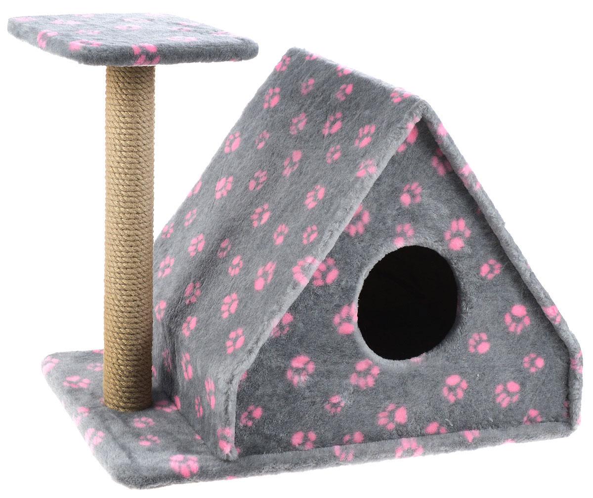 Игровой комплекс для кошек Меридиан, с домиком и когтеточкой, цвет: серый, розовый, бежевый, 64 х 39 х 54 см цена