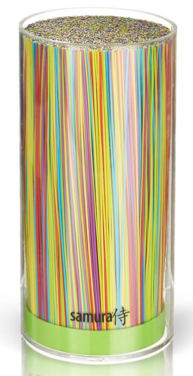"""Универсальная подставка для ножей """"Samura"""" предназначена для компактного, гигиеничного и бережного хранения стальных и керамических  ножей. Она имеет легкий пластиковый корпус пастельного салатового цвета. Внутренняя часть в виде пластиковой щетки, которая легко  вынимается.  Гигиеничное хранение: корпус и щетку можно мыть под проточной водой и в посудомоечной машине. Лезвия ножей при хранении не касаются друг  друга, тем самым максимально сохраняя свою остроту.  Подставка вместительная от 5 до 9 ножей, в зависимости от размера ножей.  Вес: 1 кг."""
