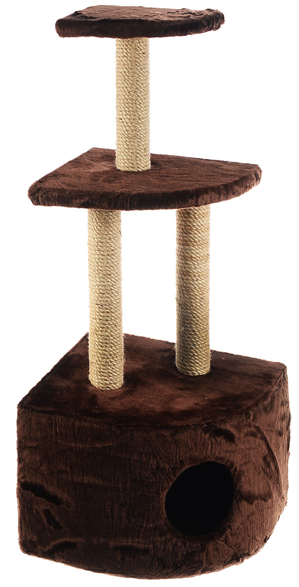 Домик-когтеточка ЗооМарк, угловой, 3-ярусный, цвет: темно-коричневый, бежевый, 42 х 42 х 105 см