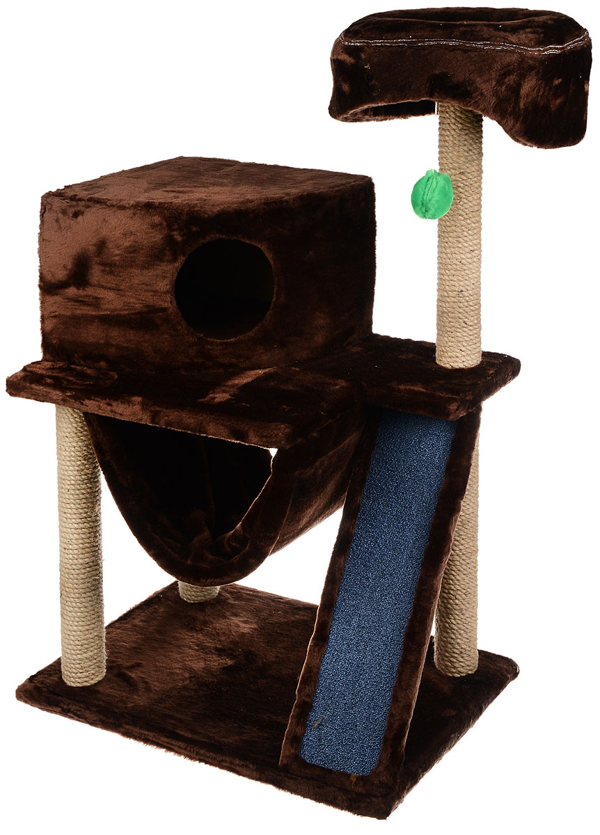 Игровой комплекс для кошек ЗооМарк Мурка, цвет: темно-коричневый, бежевый, 60 х 45 х 120 см125_мехИгровой комплекс для кошек ЗооМарк Мурка выполнен из высококачественного дерева и обтянут искусственным мехом. Изделие предназначено для кошек. Комплекс имеет 3 яруса. Ваш домашний питомец будет с удовольствием точить когти о специальные столбики, изготовленные из джута. Также точить когти поможет площадка, оснащенная вставкой из ковролина. А отдохнуть он сможет либо на полках, либо домике или гамаке. На одной из полок расположена игрушка, которая еще сильнее привлечет внимание питомца.Общий размер: 60 х 45 х 120 см.Размер домика: 37 х 37 х 25 см.Диаметр верхней полки: 30 см.Уважаемые покупатели!Обращаем ваше внимание на тот факт, что размеры могут незначительно отличаться в пределах 3-4 см в высоту и ширину.