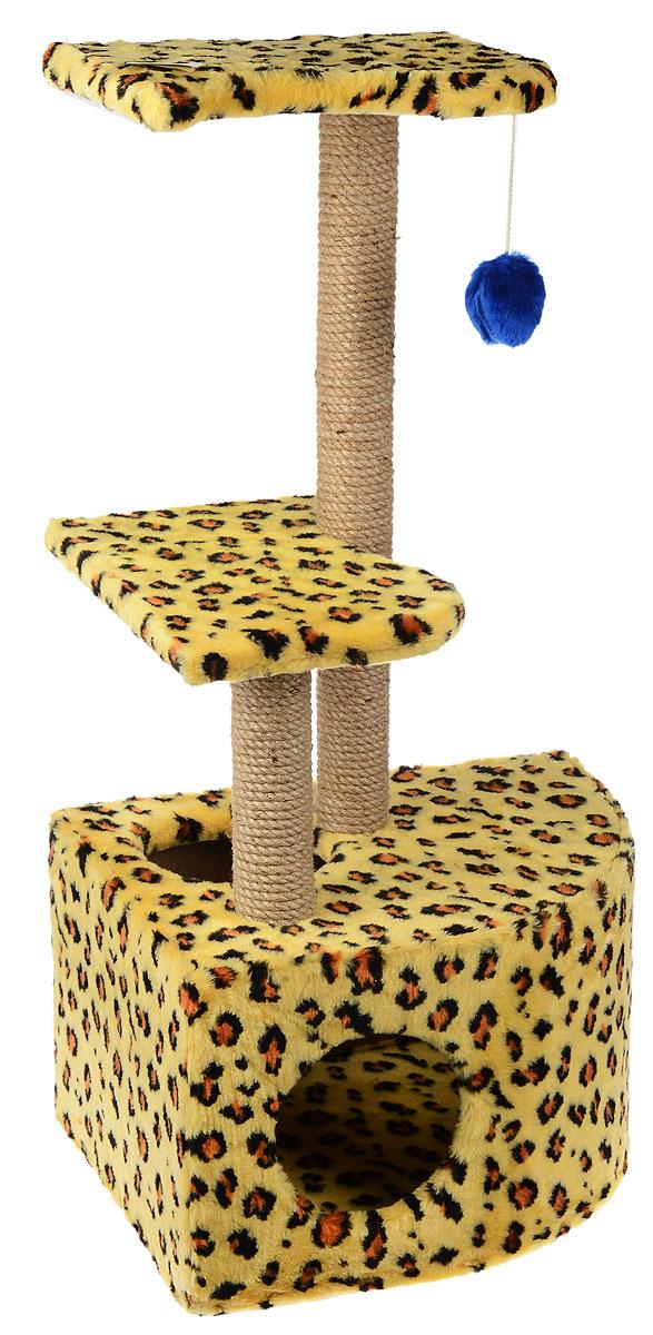Домик-когтеточка ЗооМарк  Мурзик , угловой, с полками, цвет: желтый, коричневый, бежевый, 51 х 37 х 99 см - Когтеточки и игровые комплексы