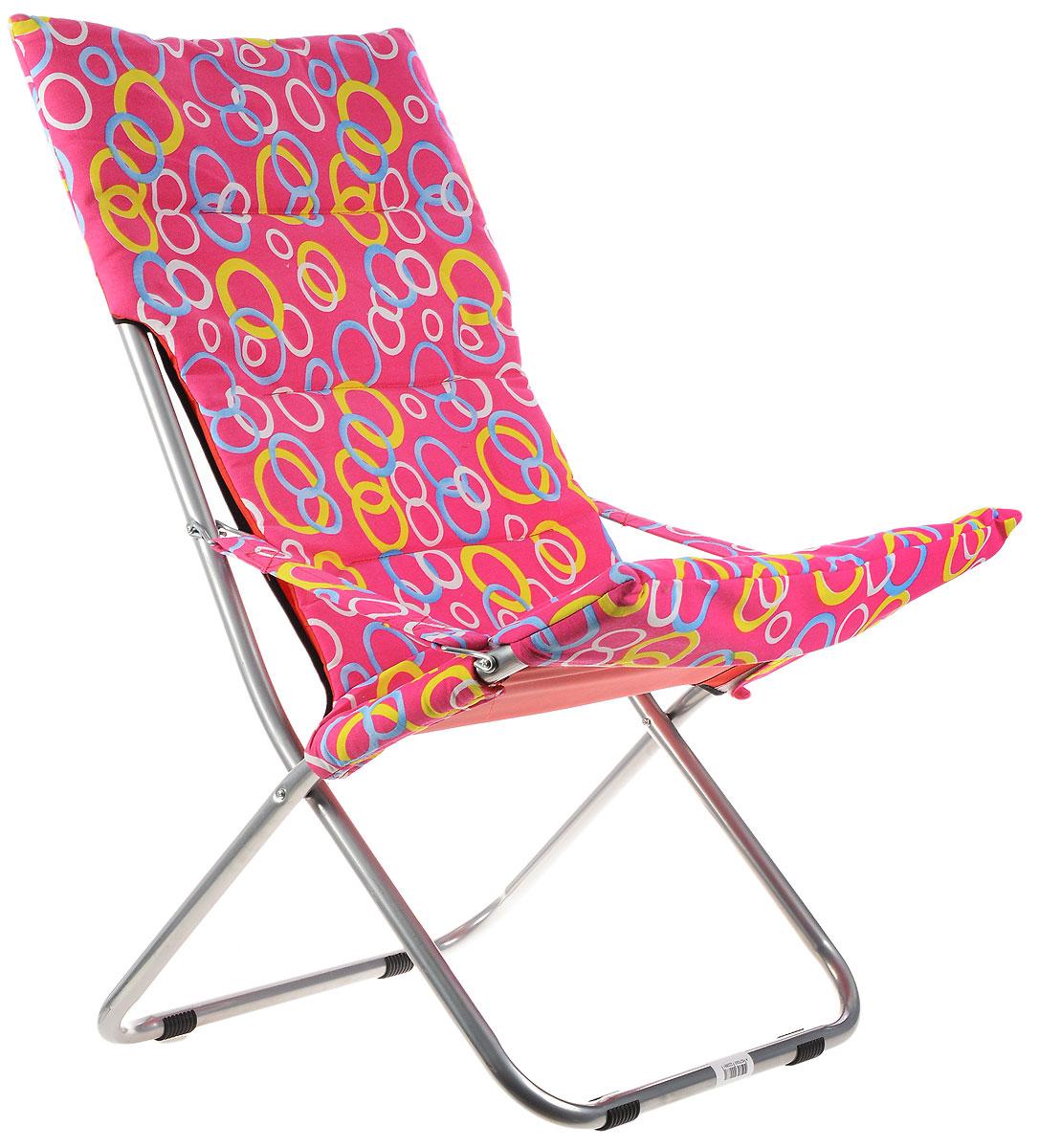 Кресло складное Wildman, цвет: розовый, желтый, синий, 73 х 60 х 100 см81-455_розовый,кружкиНа складном кресле Wildman можно удобно расположиться в тени деревьев, отдохнуть в приятной прохладе летнего вечера.В использовании такое кресло достойно самых лучших похвал. Кресло выполнено из текстиля, каркас металлический. Мягкий съемный чехол с наполнителем из синтепона крепится на кресло при помощи застежек-липучек. В сложенном виде кресло удобно для хранения и переноски.
