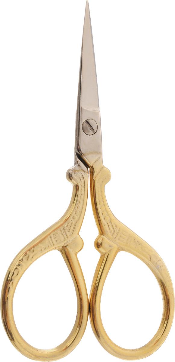 Ножницы для вышивания Hemline, длина 9 смB5414Ножницы для вышивания Hemline выполнены из высококачественной нержавеющей стали с позолоченным покрытием. Вышивальщице обязательно нужны ножницы, причем не одни. Ножницы должны быть маленькие и с острыми кончиками. Аккуратные и элегантные ножницы идеально подходят для обрезания нитей.Длина ножниц: 9 см.Длина лезвий: 2,8 см.