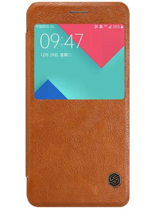 Nillkin Qin Leather Case чехол для Samsung Galaxy A5 (2016), Brown2000000091426Чехол Nillkin Qin Leather Case для Samsung Galaxy A5 (2016) выполнен из высококачественного поликарбоната и искусственной кожи. Он надежно фиксирует и защищает смартфон при падении. Обеспечивает свободный доступ ко всем разъемам и элементам управления. Благодаря функциональному окну отсутствует необходимость открывать чехол для того, чтобы ответить на вызов, проверить время, воспользоваться камерой или любой другой функцией.
