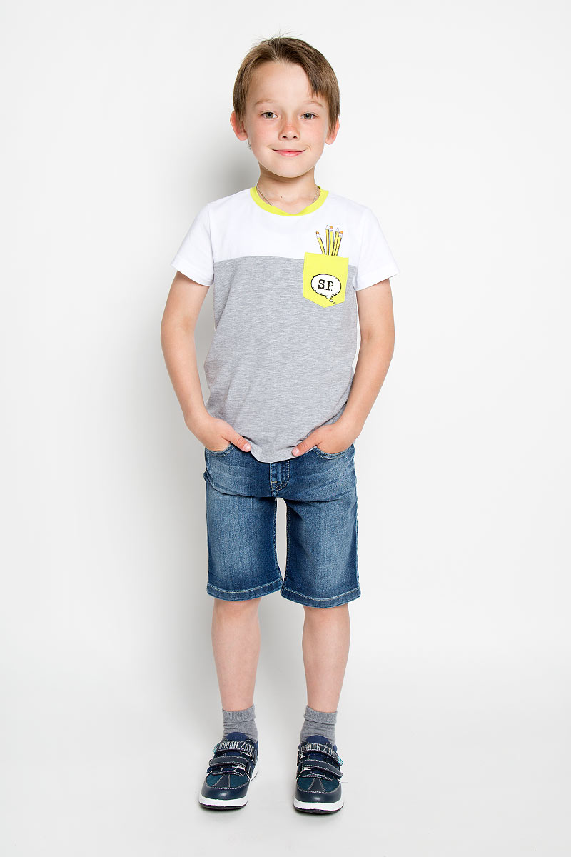 Футболка для мальчика Silver Spoon Casual, цвет: белый, серый меланж. SCFSB-618-14613-200 мод.M5-001. Размер 98