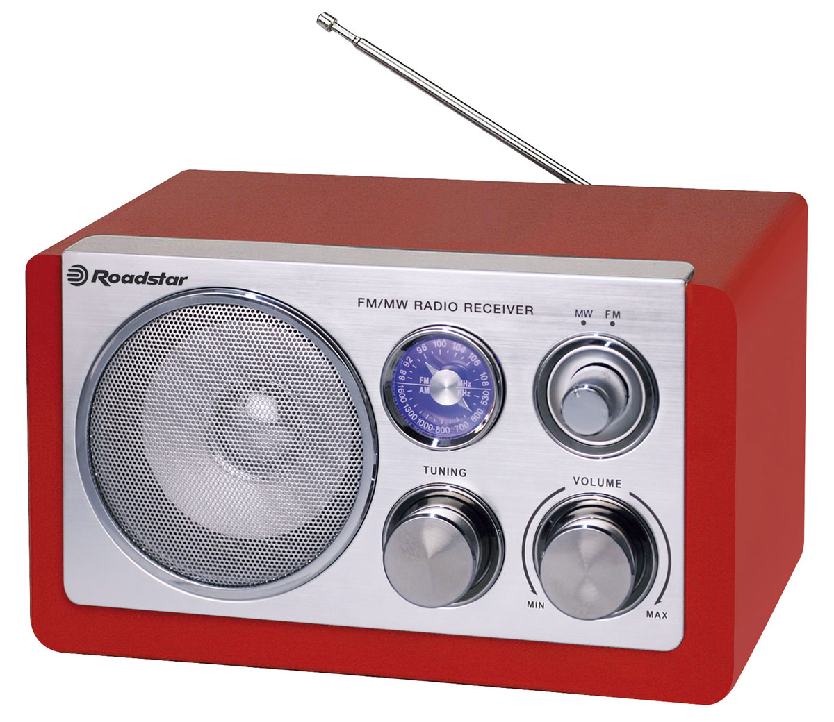 RoadStar HRA-1200N/RD, Red, ретро-радиоприемникHRA-1200N/RDОригинальный проигрыватель RoadStar HRA-1200N станет актуальным подарком для меломана или просто любителя ретро-дизайна. Внешне ретро проигрыватель напоминает старинные радиоприемники. Корпус изготовлен из полированного дерева. Качественное звучание действительно поразит вас и доставит удовольствие при прослушивании любимых радиостанций.