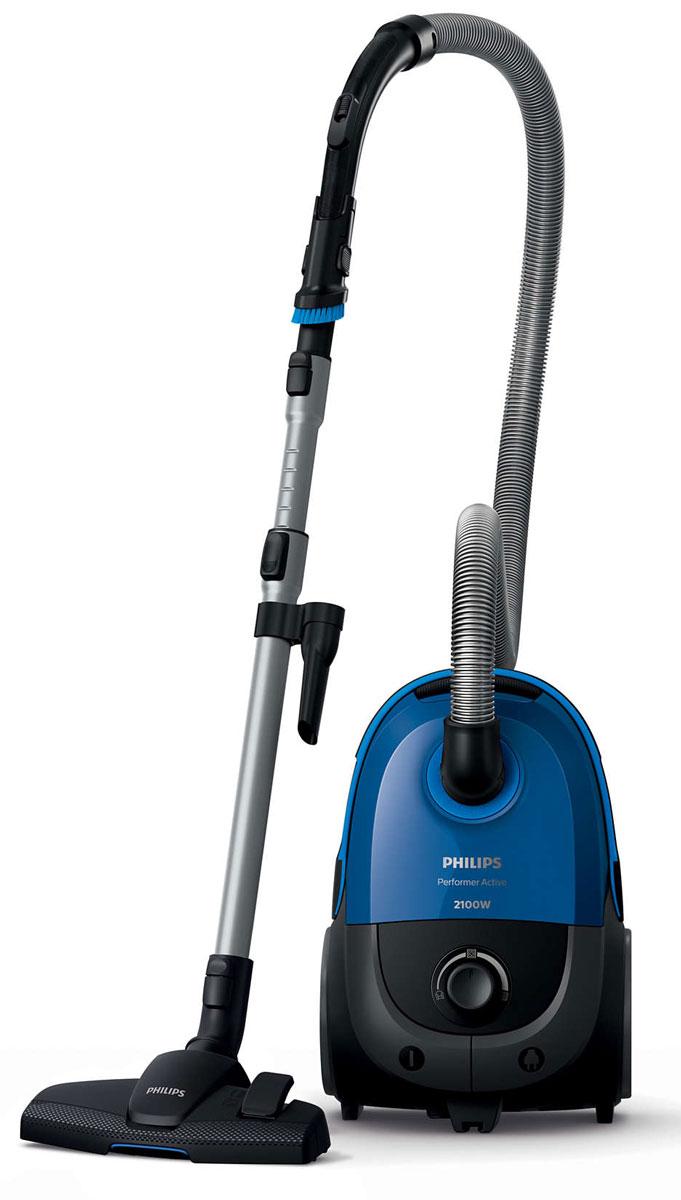 Philips FC8588/01, Black Blue пылесосFC8588/01Пылесос Philips Performer Active обеспечивает идеальные результаты уборки и гигиеничное удаление пыли. Технология AirflowMax поддерживает максимальную мощность всасывания до полного заполнения мешка. Насадка MultiClean эффективно удаляет пыль на всех типах напольных покрытий.Уникальная технология AirflowMax помогает поддерживать мощность всасывания на высоком уровне еще дольше - в течение всего срока эксплуатации мешка. Эффективность технологии основана на трех ключевых факторах: 1) уникальный профиль ребер внутри пылесборника максимально усиливает поток воздуха вокруг мешка, позволяя использовать весь его объем; 2) специальная конструкция вместительного контейнера для сбора пыли обеспечивает равномерное наполнение мешка; 3) высококачественный и волокнистый материал позволяет не забиваться порам мешка пылью, поэтому мощность всасывания не уменьшается.Насадка MultiClean гарантирует тщательную очистку всех типов напольных покрытий. Насадка оснащена большим фронтальным отверстием для захвата крупного мусора, при этом она плотно прилегает к полу и собирает даже самую мелкую пыль.Пылесос оснащен специальными отделениями для насадок, чтобы во время уборки вам не пришлось возвращаться за нужным аксессуаром. Мягкая щетка для пыли находится в ручке прибора, поэтому она всегда готова к использованию.Элементы соединения ActiveLock обеспечивают удобную установку и отсоединение различных насадок и аксессуаров от телескопической трубки.Мягкий бампер защищает мебель, предотвращает повреждения при случайных столкновениях с мебелью или стеной и исключает застревание возле углов, чтобы вы могли передвигаться быстрее.Противоаллергенный фильтр удерживает более 99,9 % мелкой пыли. Разработан специально для людей, страдающих аллергией, а также для тех, кто требовательно относится к чистоте и гигиеничности.Синтетические мешки для пыли Philips надолго гарантируют высокое качество уборки и тщательную фильтрацию, даже если мешок заполнен. Специал