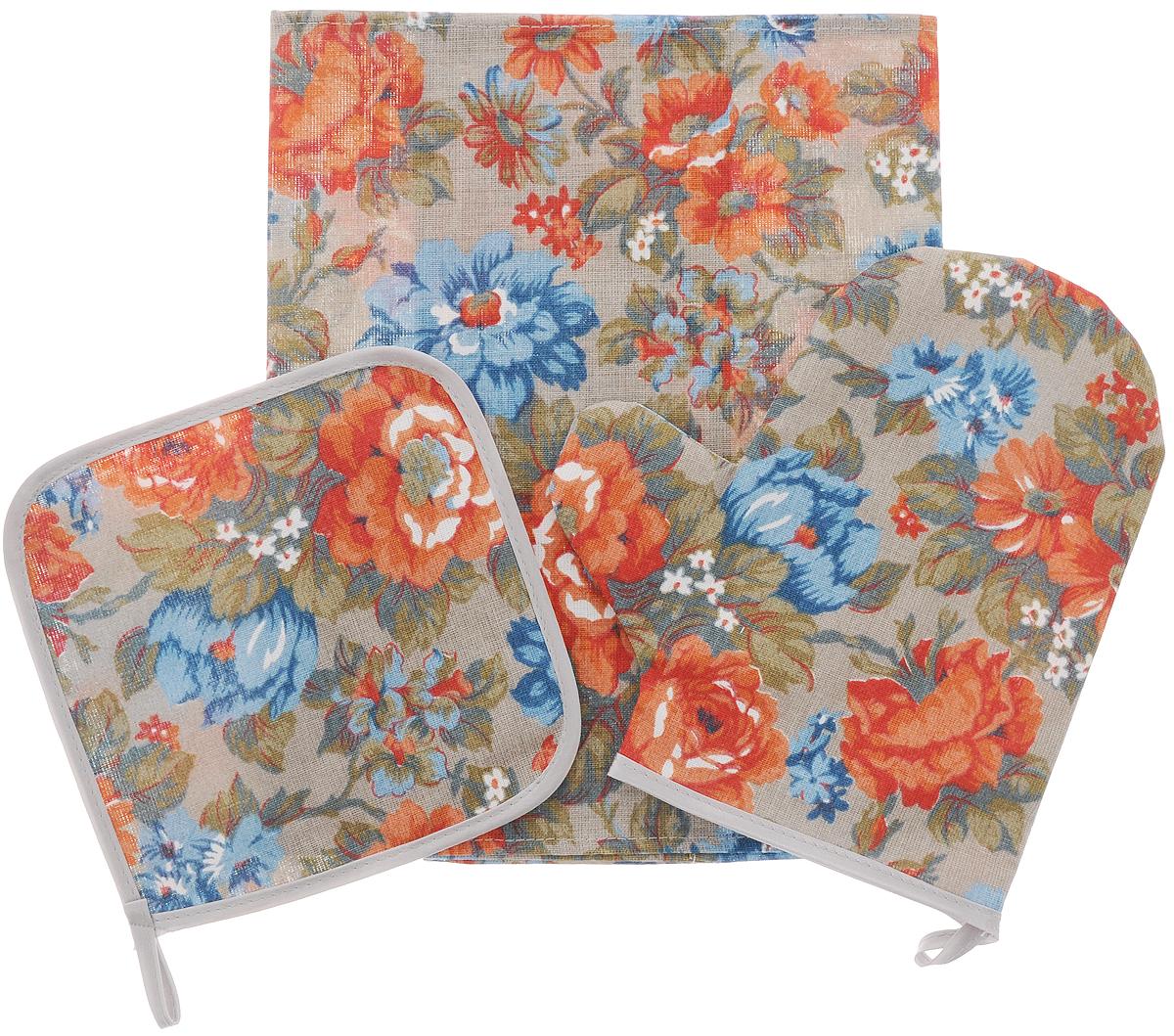 """Кухонный набор Roko """"Маки"""", выполненный из 50% хлопка и  50% льна, состоит из прихватки, прямоугольного полотенца и  прихватки-рукавицы. Предметы набора оформлены  красочным принтом.  Полотенце прекрасно впитывает влагу, легко стирается,  хорошо сохраняет форму и цвет. Прихватки удобные, мягкие и  практичные. Они защитят ваши руки и предотвратят  появление ожогов. С помощью текстильной петельки  прихватки можно подвесить на крючок. Такой комплект прекрасно сочетается с фартуком, скатертью  и силиконовой рукавицей в аналогичном дизайне, что делает  его стильным и полезным подарком для каждой хозяйки.  Кухонный набор Roko """"Маки"""" станет незаменимым  помощником на вашей кухне. Яркий и оригинальный дизайн  вдохновит вас на новые кулинарные шедевры.  Размер полотенца: 60 х 30 см.  Размер прихватки: 17 х 17 см.  Размер варежки-прихватки: 22,5 х 20 см."""