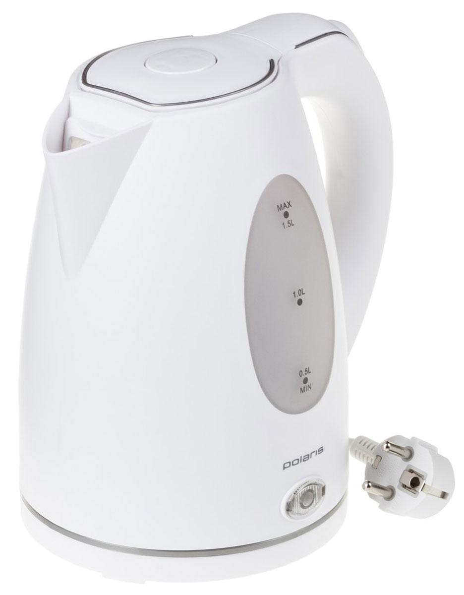 Polaris PWK 1574CL, White электрический чайникPWK 1574CLВ чайнике Polaris PWK 1574CL каждая деталь разработана для удобства пользования и безопасности. С помощью световой индикации и двух вариантов внутренней подсветки чайник сообщает о режиме работы, корпус может вращаться на подставке на 360 градусов, что позволяет использовать его из любого положения, а многоразовый фильтр для воды позволит избежать попаданию накипи в чашку.