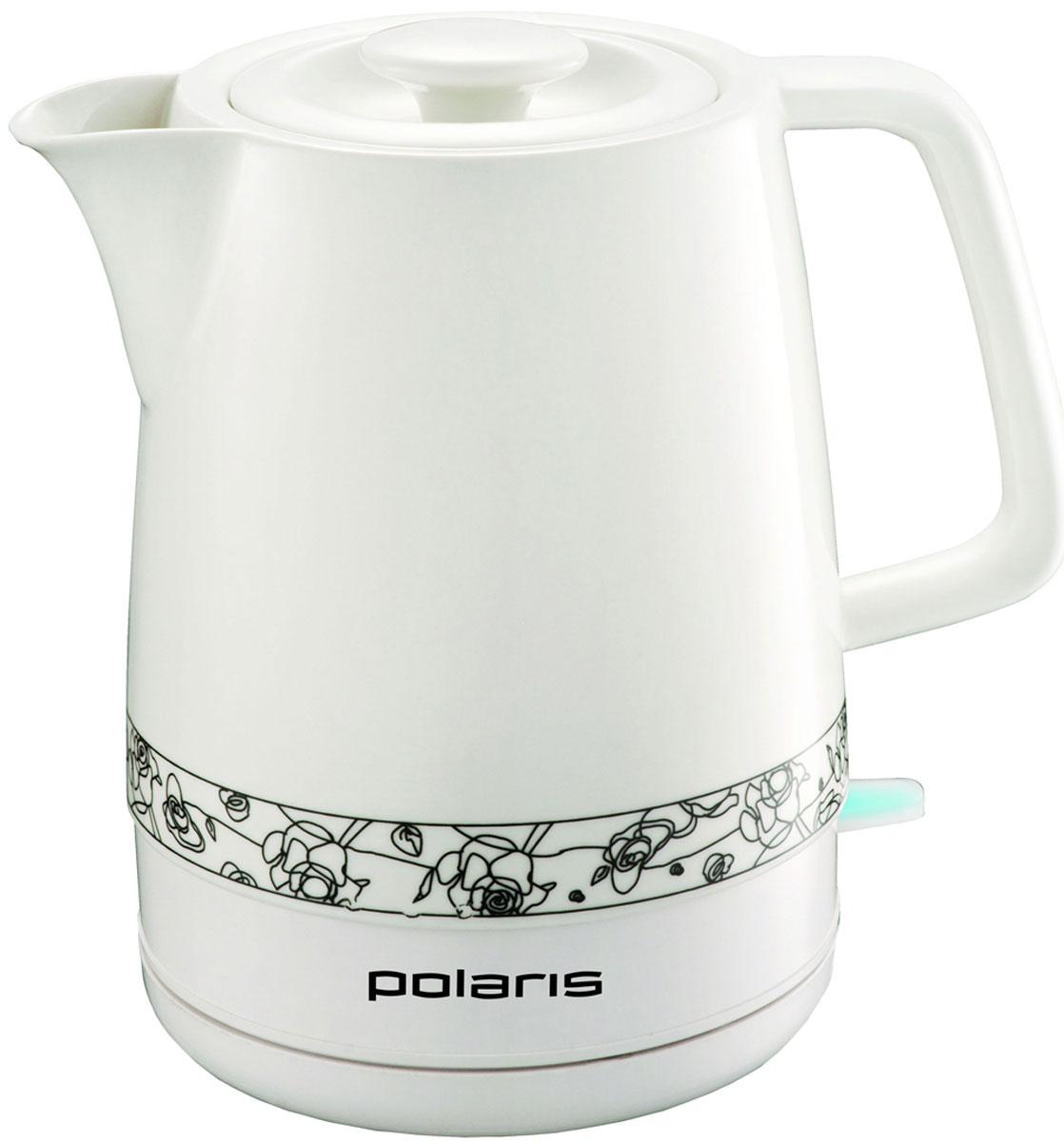 Polaris PWK 1731CC электрический чайникPWK 1731CCКерамический чайник Polaris PWK 1731CC идеально подходит для тех, кто ценит в доме уют. Керамика c древних времен считалась признаком хорошего вкуса и лучшим материалом для изготовления посуды. Сегодня благодаря новым технологиям керамика снова популярна. Керамический чайник Polaris PWK 1731CC имеет низкий уровень шума при работе, что особенно приятно в утренние часы. Силиконовое кольцо на крышке предотвращает дребезжание крышки при нагреве воды. Благодаря широкому носику чайник очень удобен в использовании.Кроме того, обладает следующими преимуществами современных электрических чайников: выключатель с подсветкой, скрытый нагревательный элемент, эргономичный корпус, вращающийся на 360°. Подключение осуществляется через подставку, в которой предусмотрен отсек для хранения шнура. Пусть в вашем доме господствуют натуральные, экологически чистые материалы, обеспечивающие идеальное качество воды для чаепития со вкусом. Мощность чайника Polaris PWK 1731CC составляет 2200 Вт, а вместимость 1,7 л.Силиконовое кольцо на крышке предотвращает дребезжание крышки при кипенииУдобство в использовании благодаря широкому носикуНизкий уровень шума