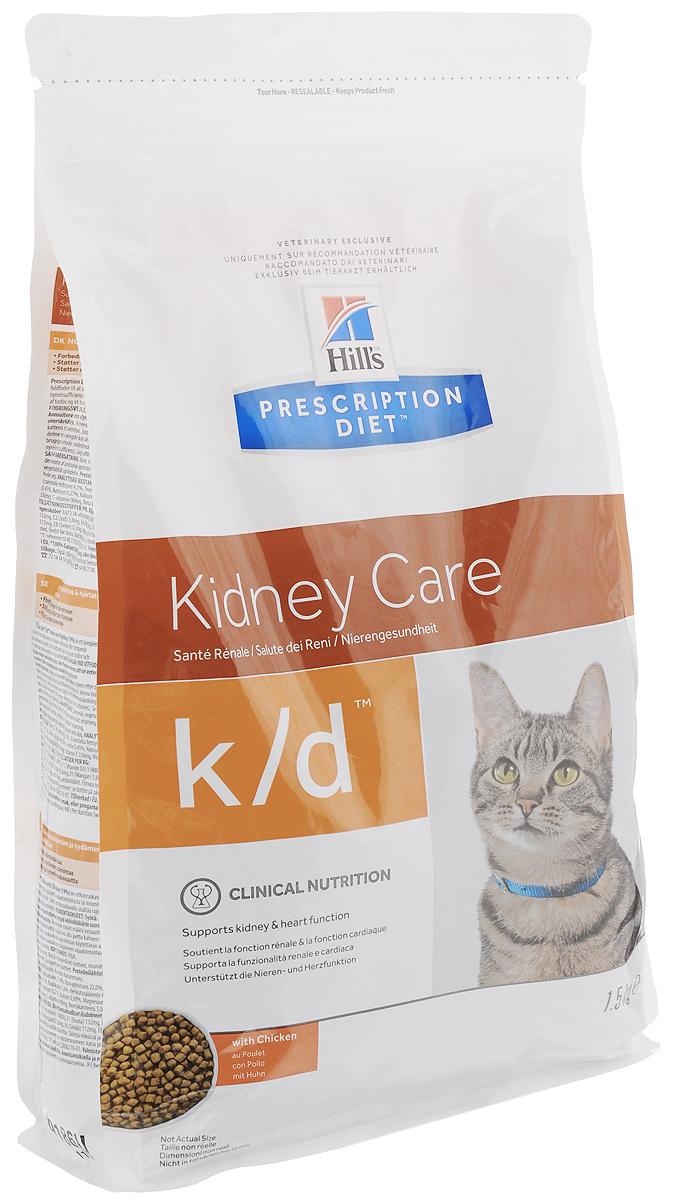 Корм сухой диетический Hill's K/D для кошек, для лечения заболеваний почек, с курицей, 1,5 кг корм сухой диетический для кошек royal canin veterinary diet sensiblе 33
