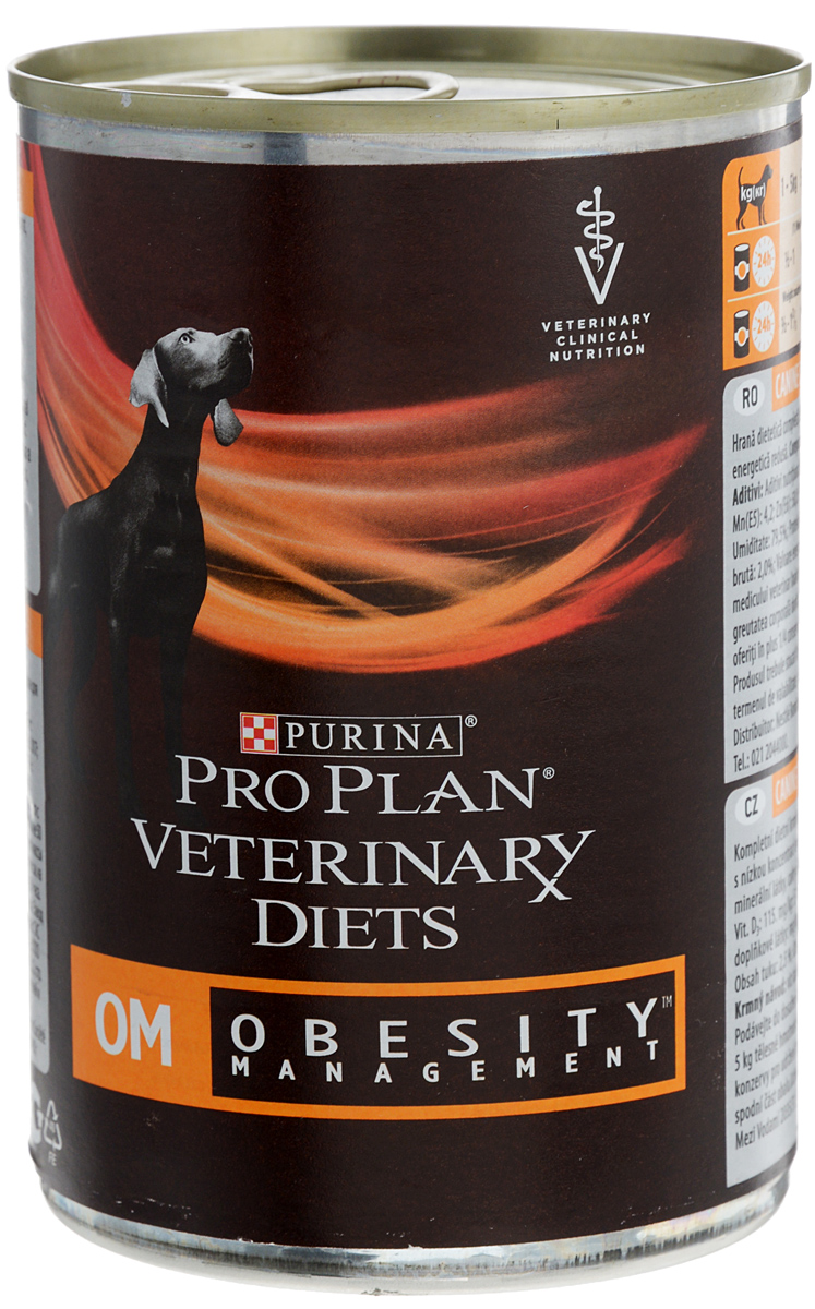 Консервы для собак Pro Plan OM, при ожирении, 400 г60479_новый дизайнДиетический корм для собак Pro Plan OM при ожирении представляет собой сбалансированное питание для безопасного и эффективного снижения избыточного веса у собак.Особенности: - Низкое содержание жиров.- Сниженный уровень калорий.- Повышенное содержание клетчатки. - Высокое содержание белков.Показания:- Ожирение. - Сахарный диабет у собак с избыточным весом. - Гиперлипидемия собак с избыточным весом. - Колит, реагирующий на клетчатку. - Запоры.Противопоказания: - Репродуктивный период, рост. - Состояния, связанные с нарушением катаболизма.Товар сертифицирован.