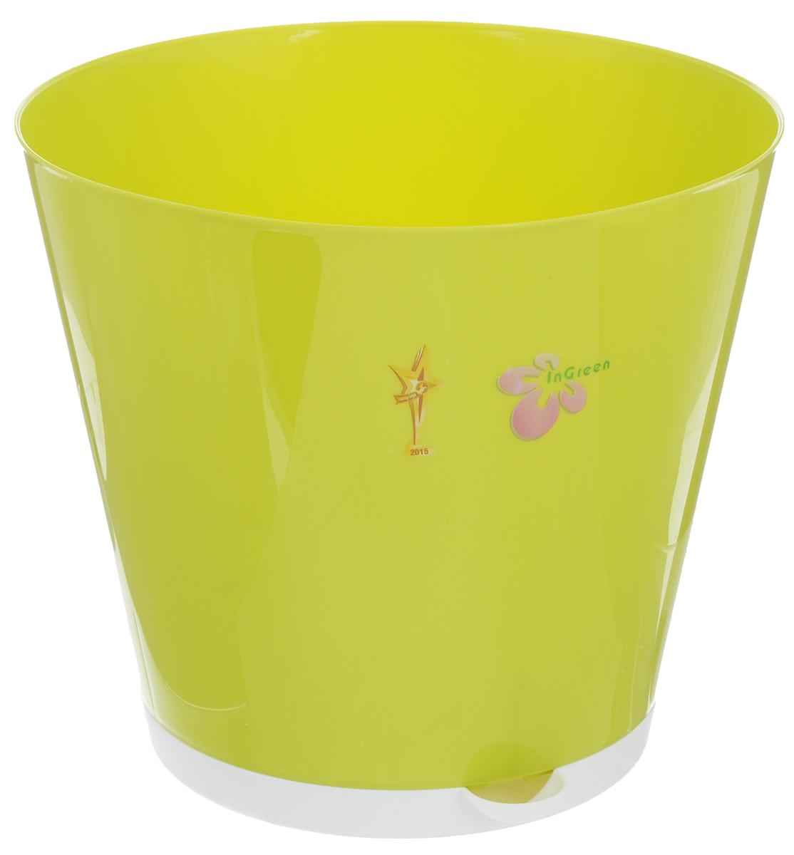 Горшок для цветов InGreen Крит, с системой прикорневого полива, цвет: салатовый, белый, диаметр 25,4 смING46025СЛГоршок InGreen Крит, выполненный из высококачественного пластика, предназначен для выращивания комнатных цветов, растений и трав. Специальная конструкция обеспечивает вентиляцию в корневой системе растения, а дренажные отверстия позволяют выходить лишней влаге из почвы. Крепежные отверстия и штыри прочно крепят подставку к горшку. Прикорневой полив растения осуществляется через удобный носик. Система прикорневого полива позволяет оставлять комнатное растение без внимания тем, кто часто находится в командировках или собирается в отпуск и не имеет возможности вовремя поливать цветы.Такой горшок порадует вас современным дизайном и функциональностью, а также оригинально украсит интерьер любого помещения. Объем: 7 л.Диаметр горшка (по верхнему краю): 25,4 см.Высота горшка: 22,6 см.