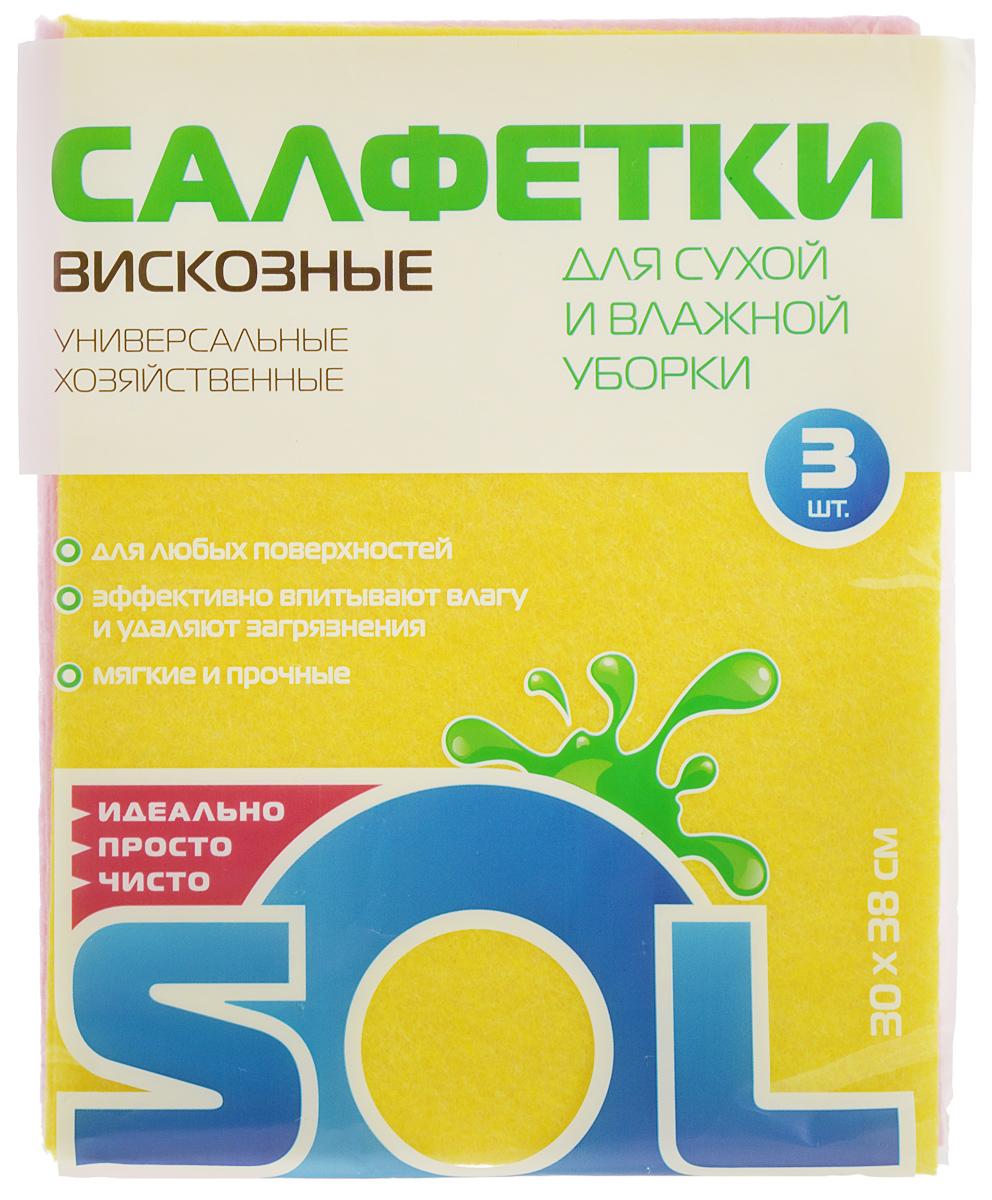 Салфетка для уборки Sol из вискозы, универсальная, цвет: желтый, розовый, 30 x 38 см, 3 шт10002/10054_желтый,розовыйСалфетки для уборки Sol, выполненные из вискозы, предназначены для уборки и могут применяться с различными моющими средствами. Эффективно впитывают жидкость. Мягкие и прочные, легко отжимаются и быстро сохнут.Рекомендации по уходу: Для обеспечения гигиеничности уборки после применения прополоскать в теплой воде.Для продления срока службы не применять машинную стирку, не гладить и не кипятить.
