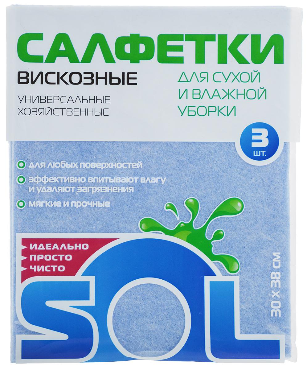 Салфетка для уборки Sol из вискозы, универсальная, цвет: голубой, 30 x 38 см, 3 шт10002/10054_голубойСалфетки для уборки Sol, выполненные из вискозы, предназначены для уборки и могут применяться с различными моющими средствами. Эффективно впитывают жидкость. Мягкие и прочные, легко отжимаются и быстро сохнут.Рекомендации по уходу: Для обеспечения гигиеничности уборки после применения прополоскать в теплой воде.Для продления срока службы не применять машинную стирку, не гладить и не кипятить.