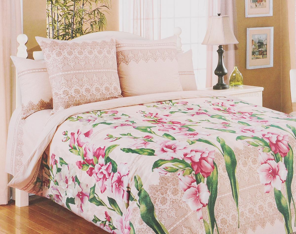 Комплект белья Primavera Гладиолусы, 1,5-спальный, наволочки 70х70, цвет: бежевый, розовый, зеленый81087Комплект белья Primavera Гладиолусы состоит из пододеяльника, простыни и двух наволочек. Постельное белье имеет изысканный внешний вид, а также обладает яркостью и сочностью цвета. Удивительный красоты рисунок, нанесенный на белье, сочетает в себе нежность и теплоту.Постельное белье Primavera Гладиолусы, выполненное из перкаля, создано для романтичных натур, которые любят изысканный дизайн. Перкаль - ткань из натурального элитного хлопка. Использование особо тонких нитей такого хлопка придает ткани деликатность и при этом высокую плотность. Перкаль не линяет, не садится и сохраняет свои свойства даже после многократных стирок. Перкаль красив сам по себе, рисунки на этой ткани выглядят как живописное полотно. Восхитительны тонкие прорисовки линий, изысканные оттенки цвета, благородные тона. Перкаль дарит поистине неповторимые ощущения прохлады и свежести, он будто ласкает кожу, даря спокойный и здоровый сон. Приобретая комплект постельного белья Primavera Гладиолусы, вы можете быть уверенны в том, что покупка доставит вам и вашим близким удовольствие и подарит максимальный комфорт.