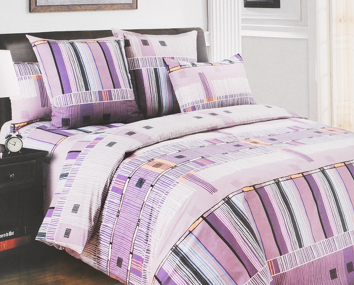 Комплект белья Primavera Параллель, 1,5-спальный, наволочки 70х70, цвет: фиолетовый, белый, серый84804Комплект белья Primavera Параллель состоит из пододеяльника, простыни и двух наволочек. Постельное белье, выполненное из перкаля, украшено оригинальным рисунком, который обладает яркостью и сочностью цвета. Перкаль - ткань из натурального элитного хлопка. Использование особо тонких нитей такого хлопка придает ткани деликатность и при этом высокую плотность. Перкаль не линяет, не садится и сохраняет свои свойства даже после многократных стирок. Перкаль красив сам по себе, рисунки на этой ткани выглядят как живописное полотно. Восхитительны тонкие прорисовки линий, изысканные оттенки цвета, благородные тона. Перкаль дарит поистине неповторимые ощущения прохлады и свежести, он будто ласкает кожу, даря спокойный и здоровый сон.Приобретая комплект постельного белья Primavera Параллель, вы можете быть уверенны в том, что покупка доставит вам и вашим близким удовольствие и подарит максимальный комфорт.