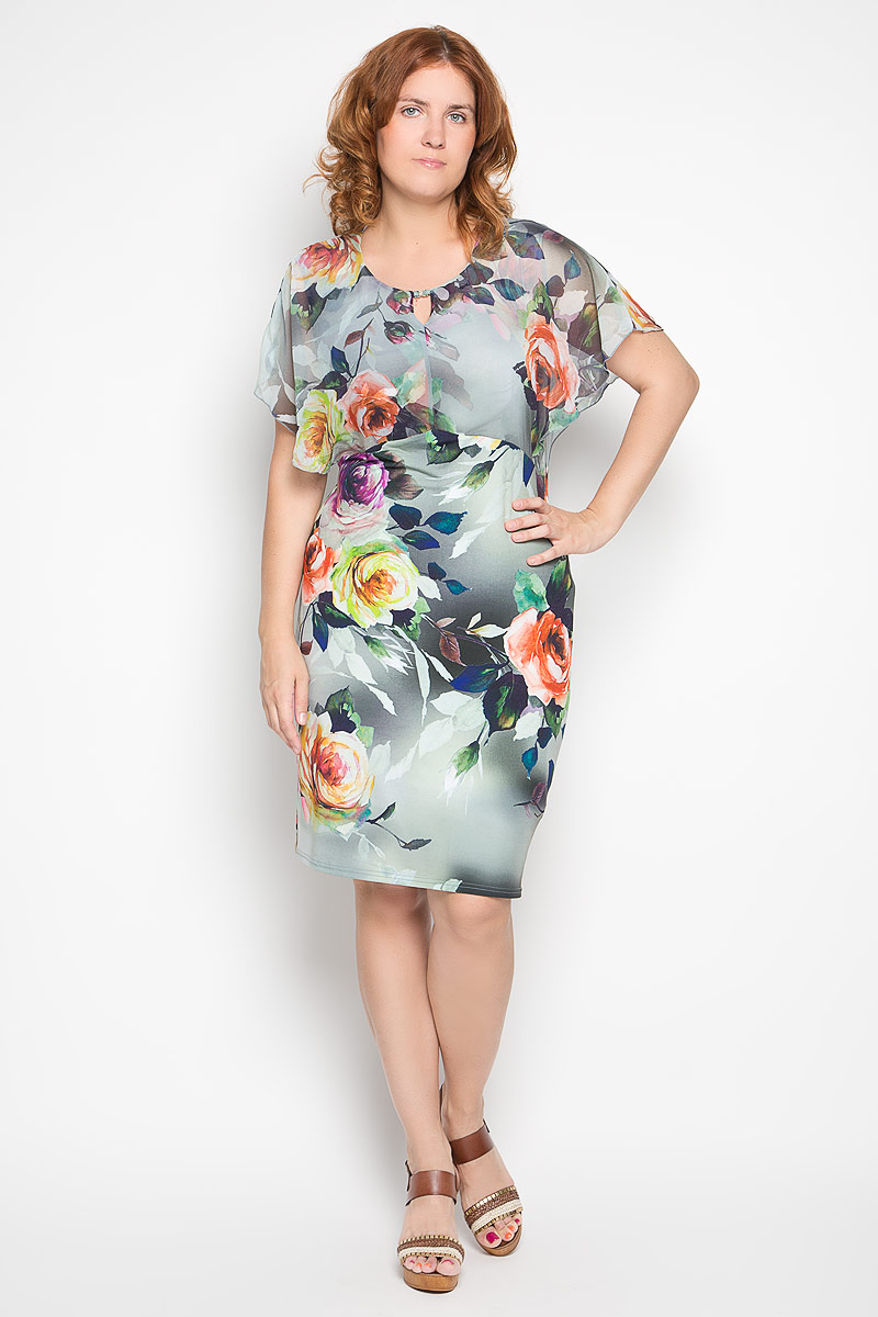 Платье Milana Style, цвет: серо-зеленый. 920м. Размер L (48)920мЭлегантное платье Milana Style выполнено из эластичного полиэстера с добавлением вискозы. Такое платье обеспечит вам комфорт и удобство при носке и непременно вызовет восхищение у окружающих.Модель-миди с короткими полупрозрачными рукавами и круглым вырезом горловины выгодно подчеркнет все достоинства вашей фигуры. Изделие оформлено красочным цветочным принтом. Изысканное платье-миди создаст обворожительный и неповторимый образ.Это модное и удобное платье станет превосходным дополнением к вашему гардеробу, оно подарит вам удобство и поможет подчеркнуть свой вкус и неповторимый стиль.