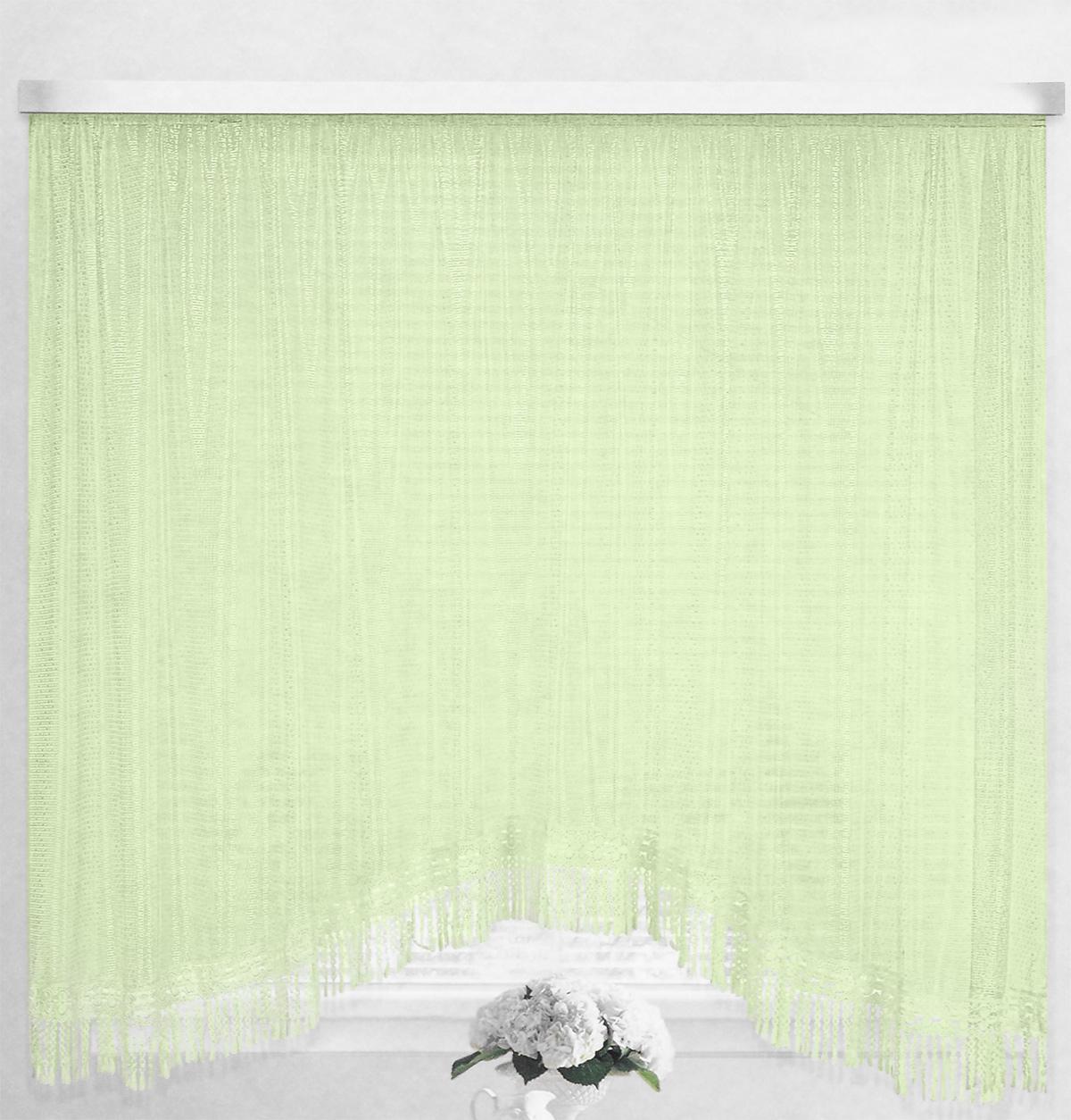 Штора-арка ТД Текстиль Капли росы, на ленте, цвет: зеленый, высота 165 см82650_зеленыйШтора-арка ТД Текстиль Капли росы великолепно украсит любое окно. Штора выполнена из качественного сетчатого полиэстера и декорирована бахромой.Полупрозрачная ткань, оригинальный дизайн и приятная цветовая гамма привлекут к себе внимание и позволят шторе органично вписаться в интерьер помещения.Штора крепится на карниз при помощи шторной ленты, которая поможет красиво и равномерно задрапировать верх. Изделие отлично подходит для кухни, столовой и спальни.