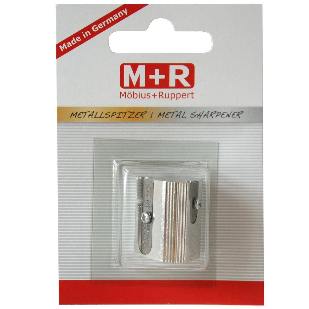 M+R Точилка с тремя отверстиями0207-0002Точилка M+R выполнена из качественного металла.В точилке имеются три отверстия для карандашей стандартного диаметра. Точилка подходит для заточки чернографитных и цветных карандашей. Эргономичная оригинальная форма сделает эту точилку незаменимым аксессуаром среди ваших канцелярских принадлежностей.