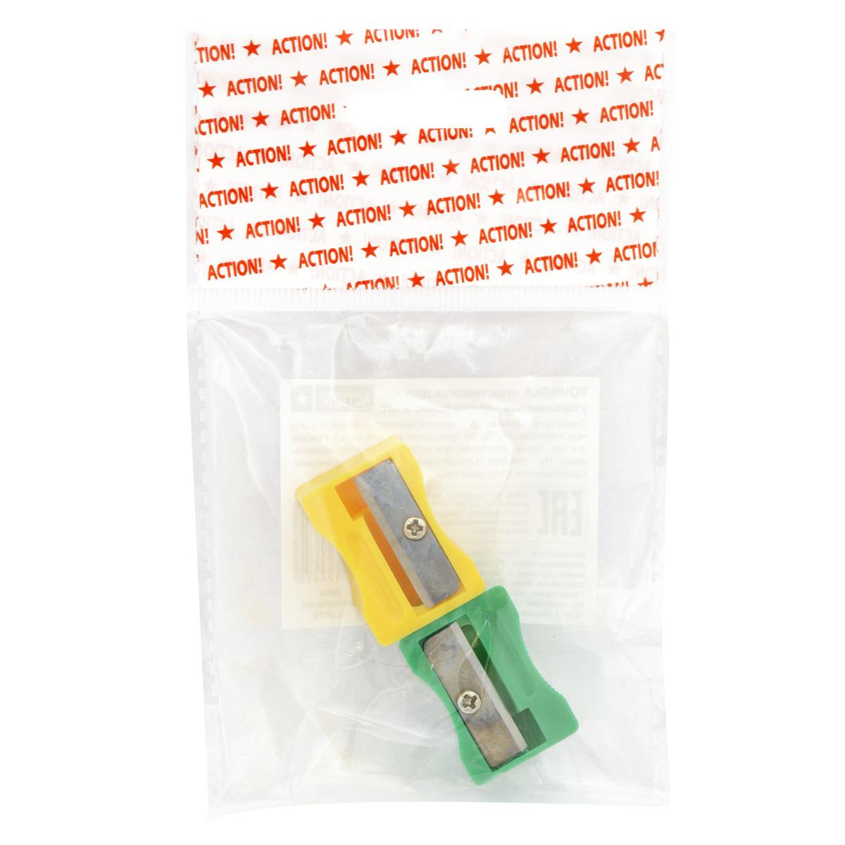 Action! Набор точилок для утолщенных карандашей 2 штASHНабор Action! состоит из двух одинарных точилок без контейнера в ярком пластиковом корпусе для заточки утолщенных карандашей.Каждая точилка с рифленой областью захвата изготовлена из неломающихся, ударопрочных материалов.Высококачественное лезвие позволит использовать такие точилки длительное время.