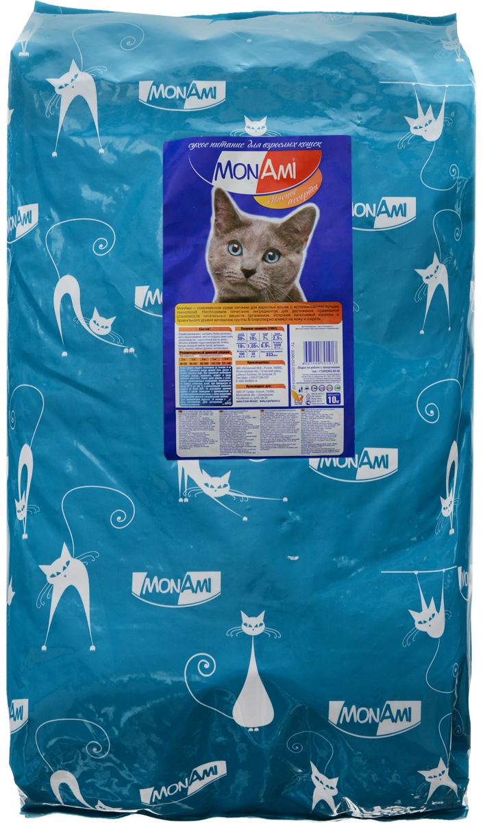 Корм сухой Mon Ami, для взрослых кошек, мясное ассорти, 10 кг14193Вкусный и полезный сухой корм Mon Ami - это то, что нужно вашей кошке, чтобы быть здоровой и счастливой. Особенности рациона: - Необходимое сочетание ингредиентов для достижения правильной усвояемости питательных веществ организмом.-Источник линолевой кислоты кислоты и правильного уровня витаминов группы В благотворно влияют на кожу и шерсть.Таурин - для здоровья глаз и сердца.Необыкновенный вкус понравится даже самым взыскательным питомцам, а полезность этого аппетитного обеда порадует хозяев. Товар сертифицирован.