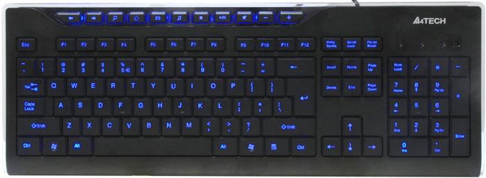 A4Tech KD-800L, Black клавиатураKD-800LA4Tech KD-800L - стильная проводная клавиатура со светодиодной подсветкой символов. 10 горячих клавиш, традиционная раскладка, угол наклона регулируется. Светодиодная подсветка символов позволяет с комфортом работать при любом освещении. Ее можно включить/отключить с помощью кнопки.10 дополнительных клавиш для быстрого доступа к офисным и мультимедийным приложениямУгол наклона клавиатуры можно отрегулировать с помощью выдвижных ножекЛазерная гравировка клавиш не позволит символам стереться в течение долгого времениКлавиатура имеет русскую раскладку