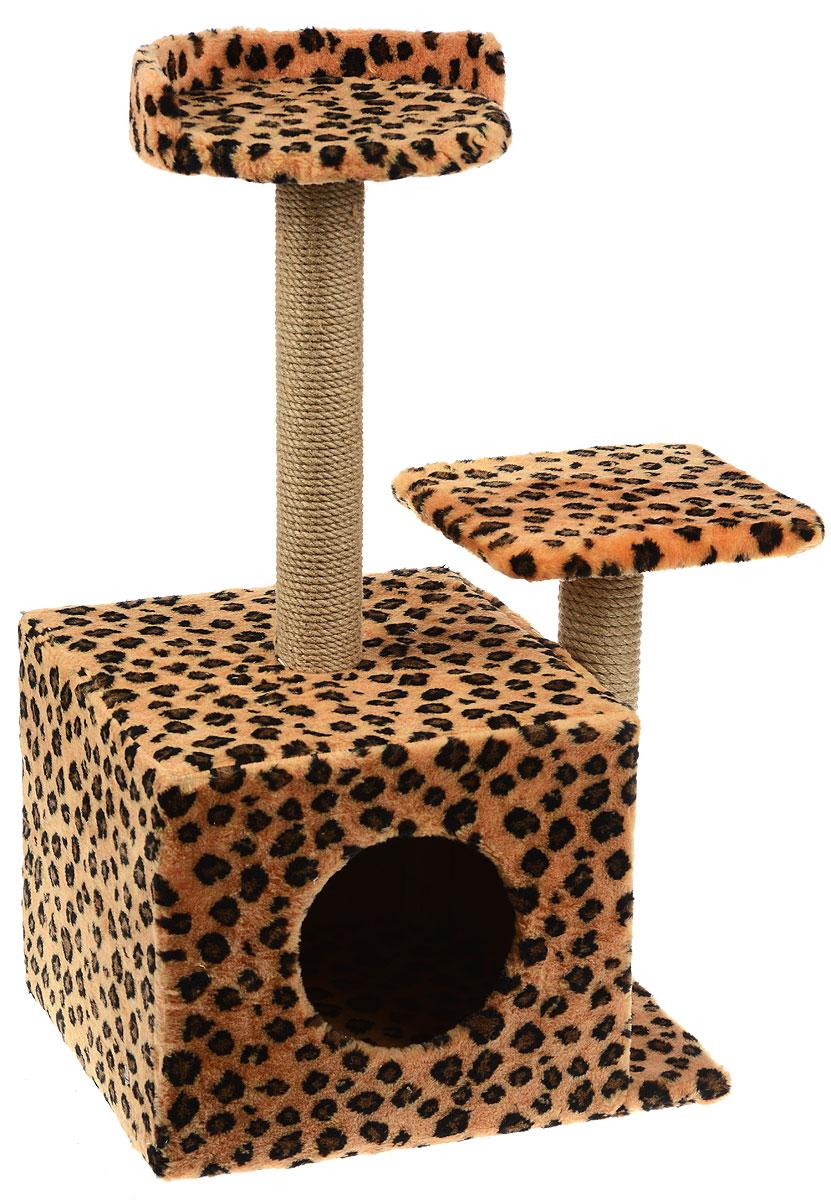 Игровой комплекс для кошек Меридиан, с домиком и когтеточкой, цвет: коричневый, черный, бежевый, 35 х 45 х 75 смД130 ЛеИгровой комплекс для кошек Меридиан выполнен из высококачественного ДВП и ДСП и обтянут искусственным мехом. Изделие предназначено для кошек. Ваш домашний питомец будет с удовольствием точить когти о специальные столбики, изготовленные из джута. А отдохнуть он сможет либо на полках разной высоты, либо в расположенном внизу домике.Общий размер: 35 х 45 х 75 см.Размер домика: 46 х 37 х 33 см.Высота полок (от пола): 74 см, 45 см.Размер полок: 27 х 27 см, 26 х 26 см.
