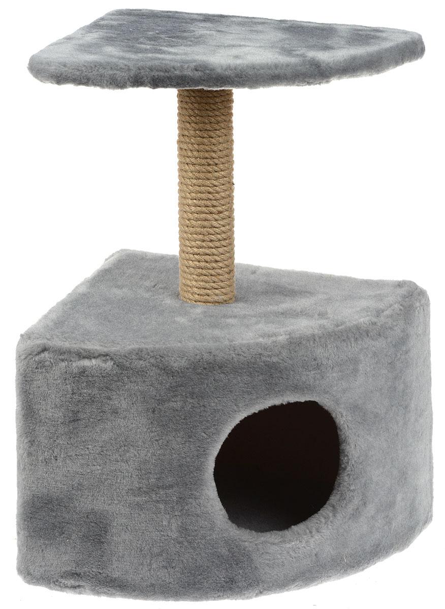 Игровой комплекс для кошек Меридиан, с домиком и когтеточкой, цвет: светло-серый, бежевый, 39 х 39 х 62 см цена