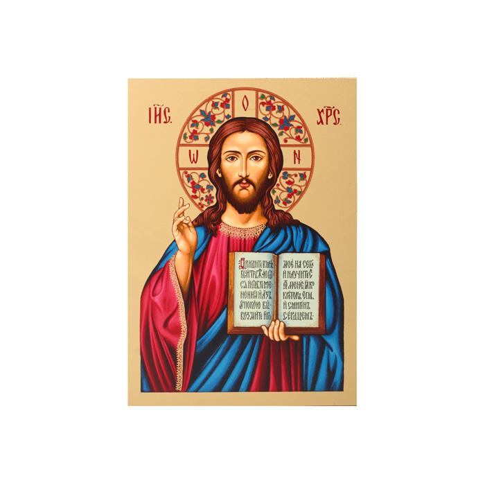 Икона Артола Иисус Христос, 12,5 см х 16,5 см х 2 смIR-IX-P2Православная каноничная икона. Современная оригинальная интерпретация. Афинская иконописная школа. Метод нанесения образа на полотно - полноцветная многослойная шелкография. Золотой фон - поталь. Деревянная основа (мдф + шпон) имеет отверстие для крепления.