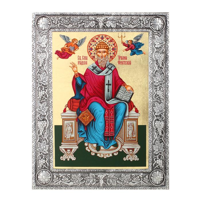 Икона Артола Святитель Спиридон, 16,5 см х 21,5 см х 1 см православная икона