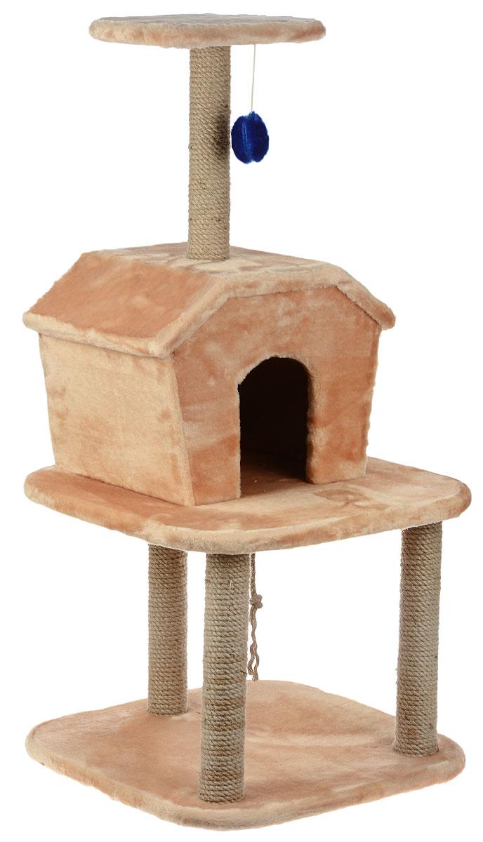 Игровой комплекс для кошек ЗооМарк Барсик, с домиком и когтеточкой, цвет: светло-коричневый, бежевый, 56 х 56 х 115 см128Игровой комплекс для кошек ЗооМарк Барсик выполнен из высококачественного дерева и обтянут искусственным мехом. Изделие предназначено для кошек. Ваш домашний питомец будет с удовольствием точить когти о специальные столбики, изготовленные из джута. А отдохнуть он сможет либо на полках, либо в домике. На одной из полок расположена игрушка, которая еще сильнее привлечет внимание питомца.Общий размер: 56 х 56 х 115 см.Размер домика: 46 х 35 х 34 см.Размер верхней полки: 32 х 25 см.