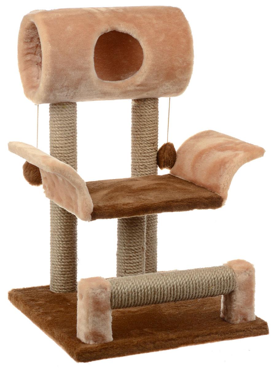 Игровой комплекс для кошек ЗооМарк Васька, цвет: коричневый, светло-коричневый, бежевый, 52 х 46 х 69 см144Игровой комплекс для кошек ЗооМарк Васька прекрасно подойдет для животного, которое длительное время остается одно дома. Обеспечивая уютное место для сна и отдыха, комплекс является отличной игровой площадкой для развлечения скучающего животного. Комплекс изготовлен из дерева и обтянут искусственным мехом. Столбики, выполненные из джута, на длительное время отвлекут вашу кошку от мягкой мебели и обоев в доме, а подвесная игрушка развлечет питомца. Комплекс имеет лежак, на котором животное сможет отдохнуть. Сверху имеется туннель.Общий размер комплекса: 52 х 46 х 69 см.Размер туннеля: 36 х 20 х 20 см.Размер лежака (рабочая часть): 31 х 26 см.