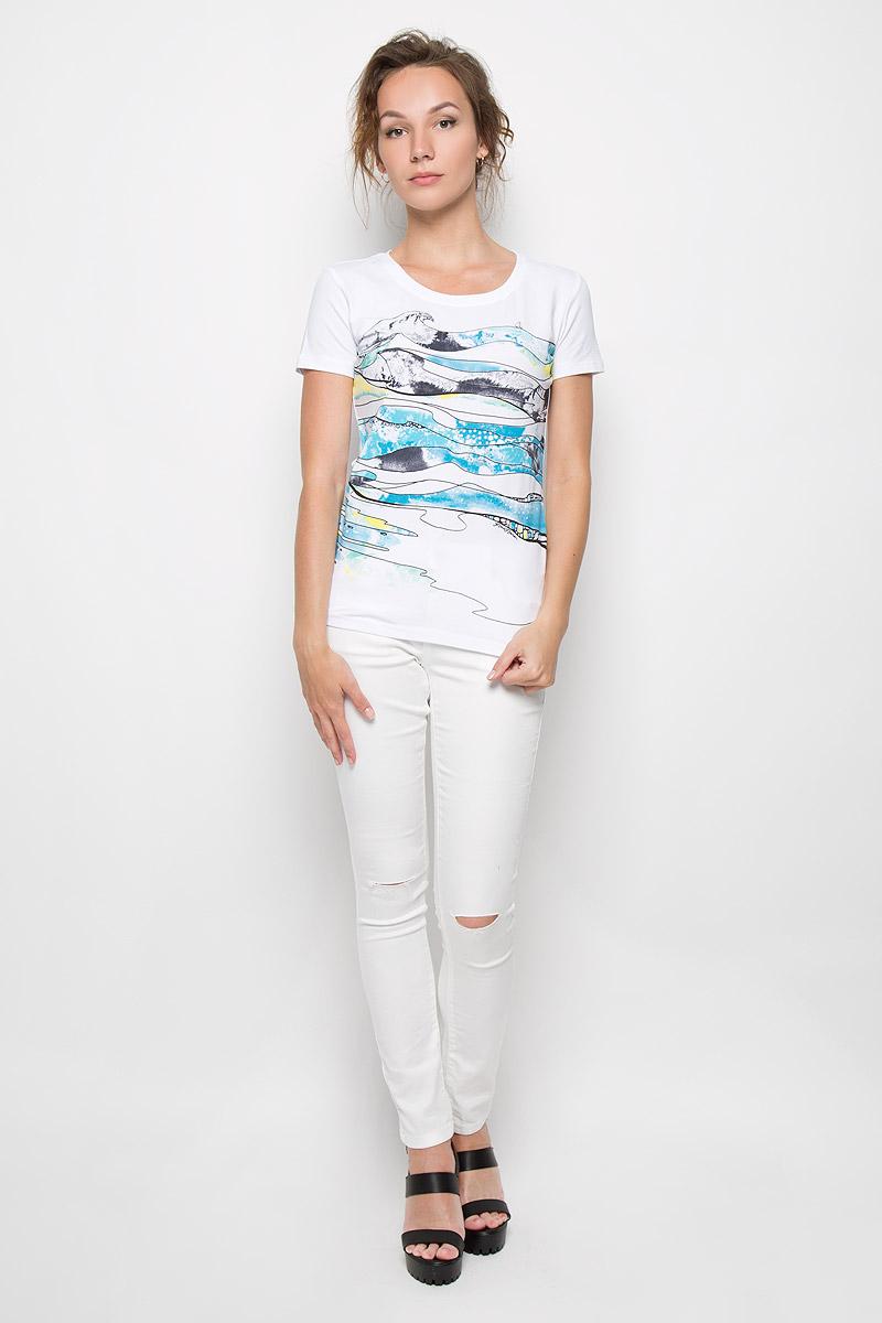 Футболка женская Finn Flare, цвет: белый. S16-14052_201. Размер XL (50) футболка женская finn flare цвет светло бирюзовый s17 11095 121 размер xl 50