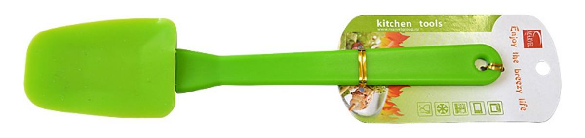 Лопатка кулинарная Marvel, цвет: светло-зеленый, длина 26 см4515Кулинарная лопатка Marvel станет вашим незаменимым помощником на кухне. Силиконовая часть лопатки выдерживает температуру до +230°С. Силикон абсолютно безвреден для здоровья, не впитывает запахи, не оставляет пятен, легко моется. Кулинарная лопатка Marvel - практичный и необходимый подарок любой хозяйке!Можно мыть в посудомоечной машине. Общая длина лопатки: 26 см. Размер рабочей части: 8,9 х 5,2 см.