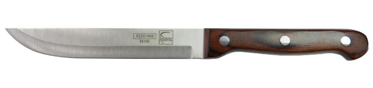 Нож для мяса Marvel Rose Wood Original, длина лезвия 13 см85190Нож Marvel Rose Wood Original изготовлен из высококачественной стали. Рукоятка выполнена из дерева. Она не скользит в руке и делает резку удобной и безопасной. Этот нож идеально подходит для нарезки мяса. Он займет достойное место среди аксессуаров на вашей кухне.