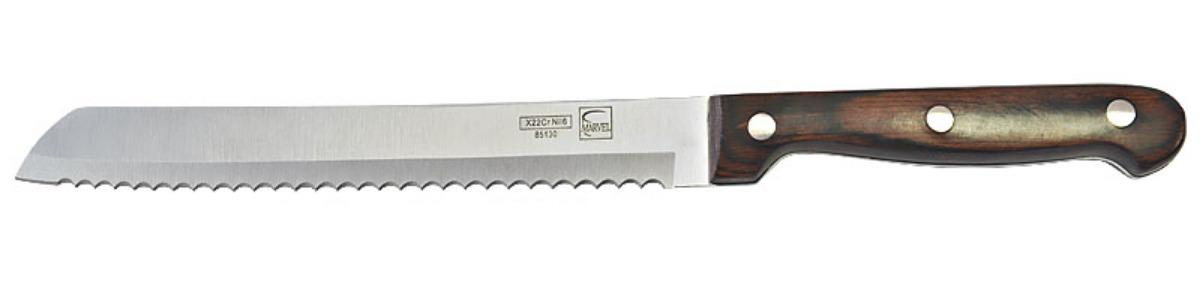 Нож для хлеба Marvel Rose Wood Original, длина лезвия 20 см. 8513085130Нож Marvel, выполненный из высококачественной стали, идеально подходит для нарезания хлеба с хрустящей корочкой. Удобная ручка обеспечивает надежный и удобный хват.Нож Marvel идеально сбалансирован, чтобы обеспечить точную и легкую нарезку продуктов. Благодаря тщательно подобранным материалам, нож легко использовать, мыть и хранить.