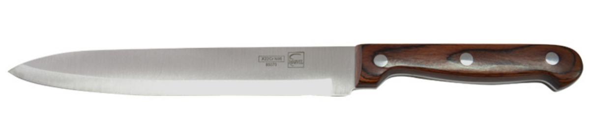 Нож для мяса Marvel Rose Wood Original, длина лезвия 20 см. 8507085070Нож Marvel Rose Wood Original изготовлен из высококачественной стали. Рукоятка выполнена из дерева. Она не скользит в руке и делает резку удобной и безопасной. Этот нож идеально подходит для нарезки мяса. Он займет достойное место среди аксессуаров на вашей кухне.