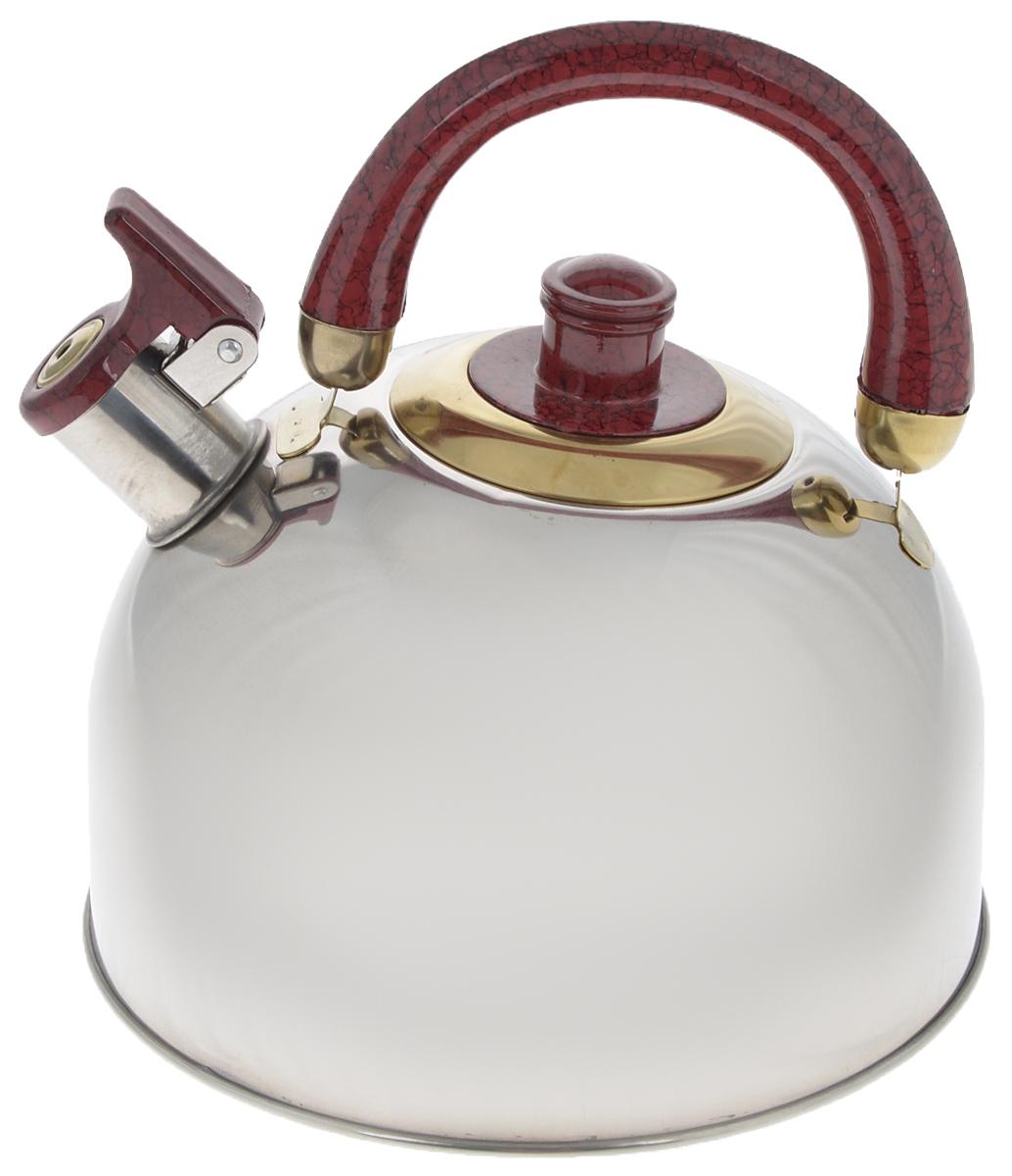 Чайник Mayer & Boch, со свистком, цвет: стальной, бордовый, золотистый, 3,5 л. 10691069А_стальной, бордовый, золотойЧайник Mayer & Boch изготовлен из высококачественной нержавеющей стали, что делает его весьма гигиеничным и устойчивым к износу при длительном использовании. Утолщенное дно обеспечивает равномерный и быстрый нагрев, поэтому вода закипает гораздо быстрее, чем в обычных чайниках. Чайник оснащен откидным свистком, звуковой сигнал которого подскажет, когда закипит вода. Подвижная ручка из бакелита дает дополнительное удобство при разлитии напитка.Чайник Mayer & Boch идеально впишется в интерьер любой кухни и станет замечательным подарком к любому случаю.Подходит для газовых, стеклокерамических, галогеновых и электрических плит. Не подходит для индукционных. Можно мыть в посудомоечной машине.Высота чайника (без учета ручки и крышки): 13 см. Высота чайника (с учетом ручки и крышки): 21,5 см. Диаметр чайника (по верхнему краю): 8,5 см.